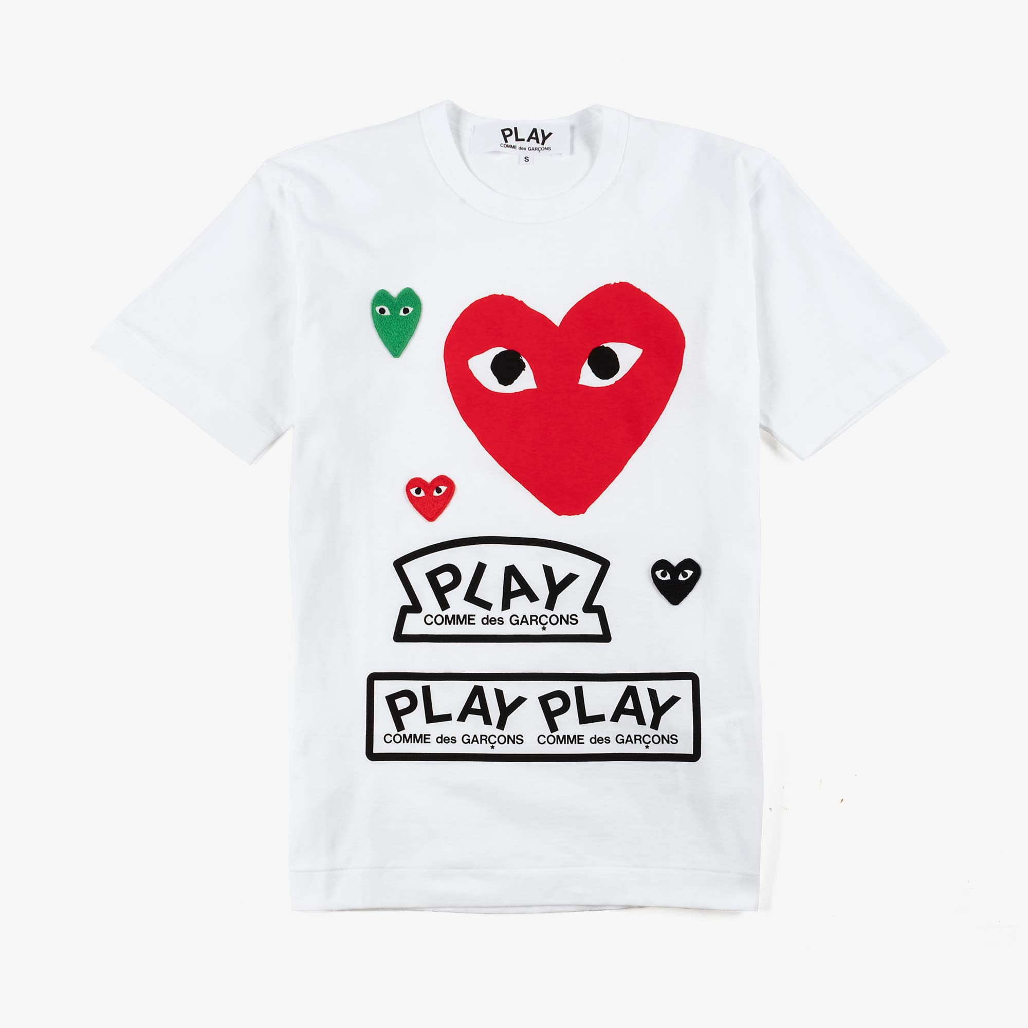 Comme des Garçons - PLAY Men's Logo Tee With Red Heart - White 1