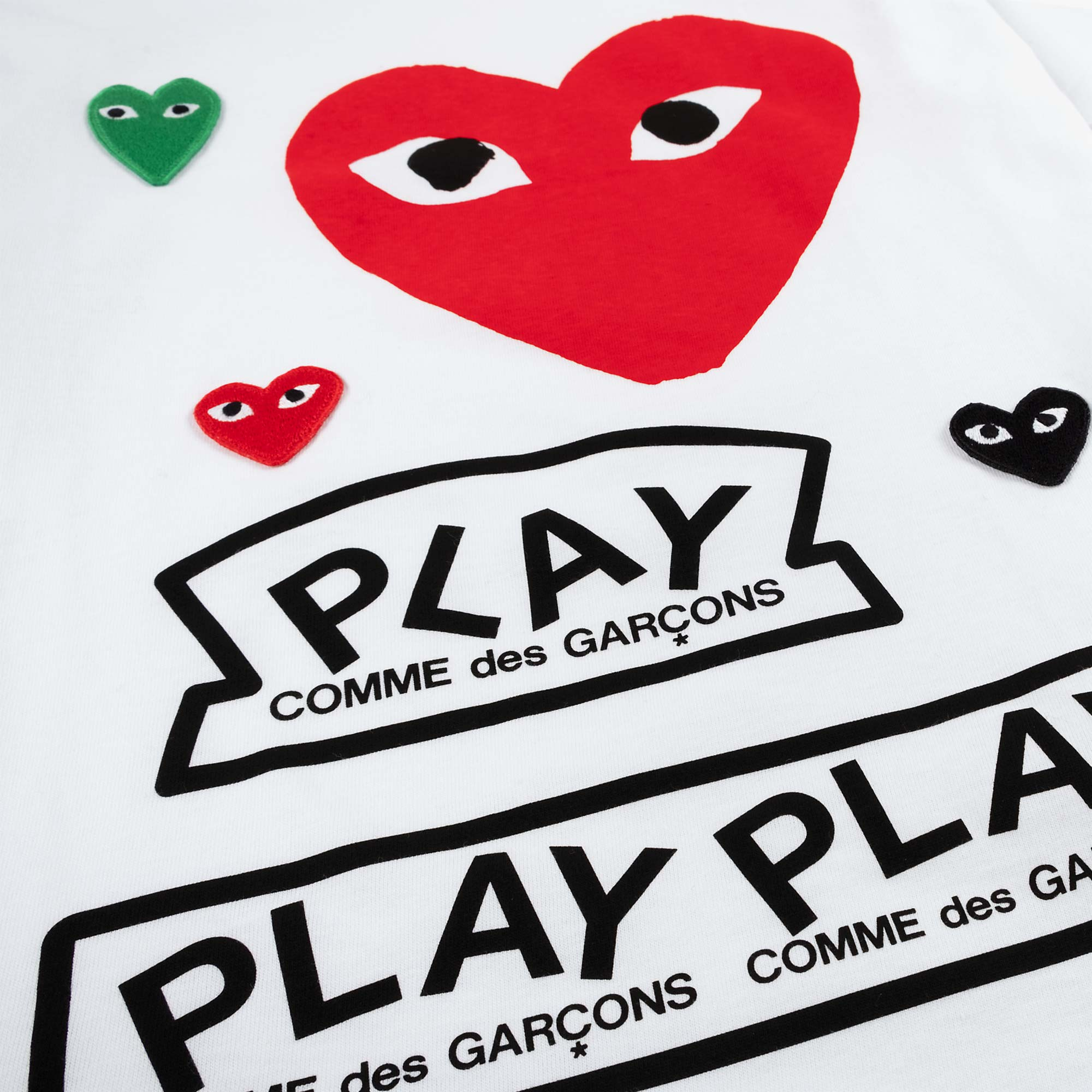 Comme des Garçons - PLAY Men's Logo Tee With Red Heart - White 2