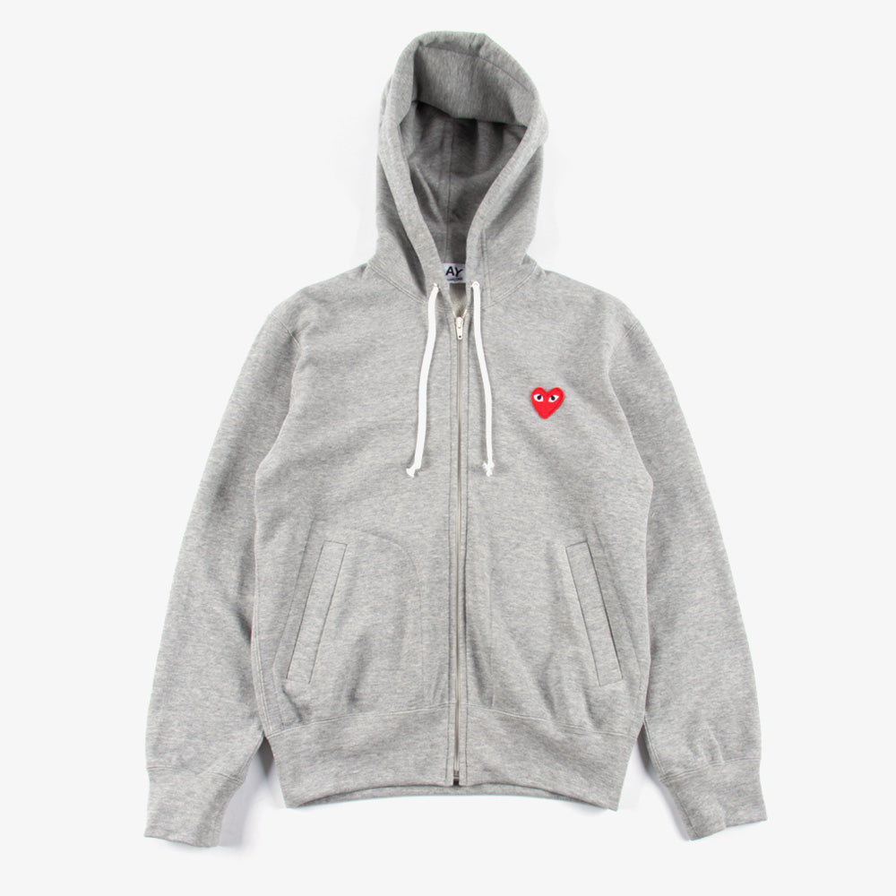 Comme des Garçons - PLAY Red Emblem  Zip Sweater - Grey 1