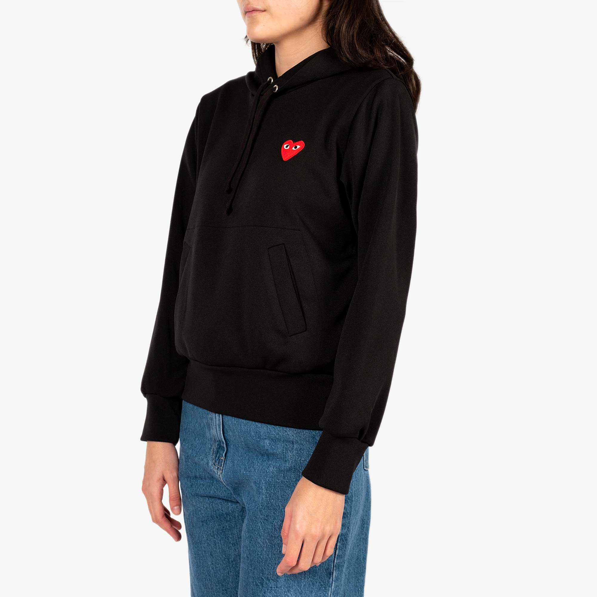 Comme des Garçons - PLAY Red Emblem Womens Hooded Sweater - Black 3