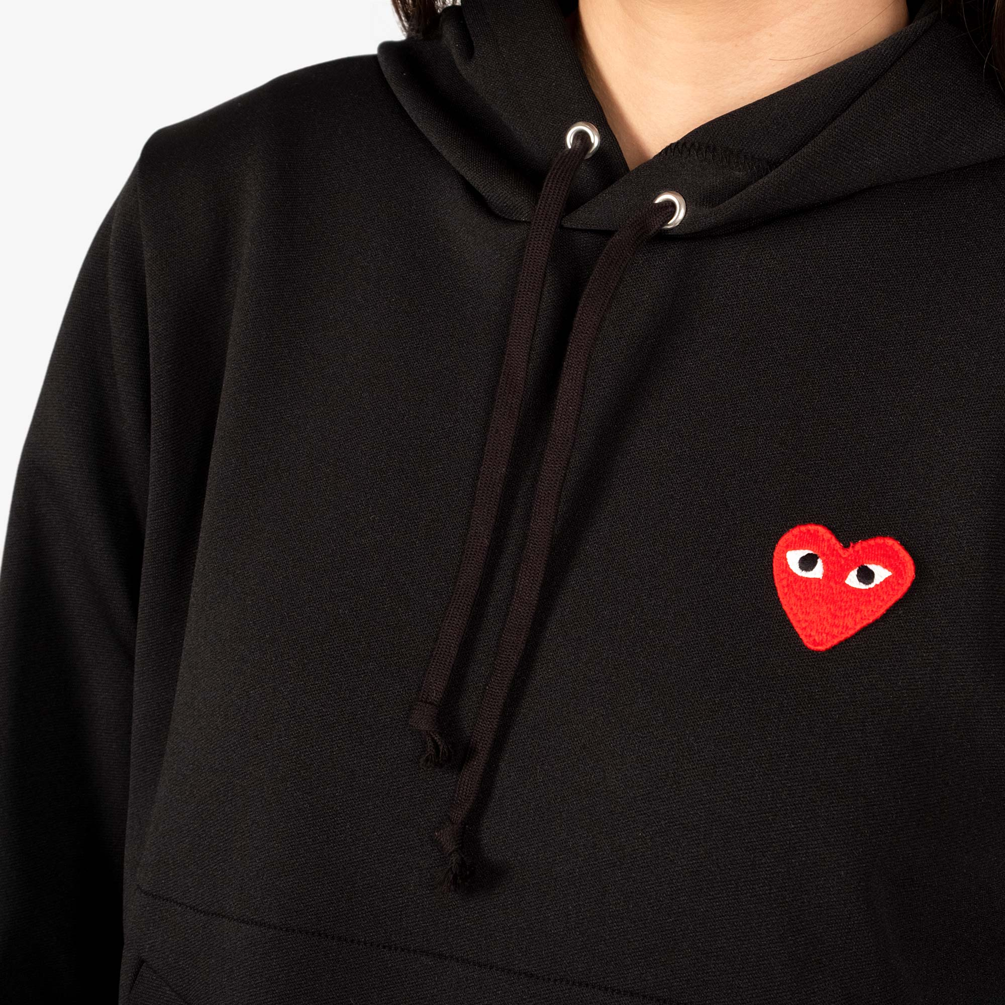 Comme des Garçons - PLAY Red Emblem Womens Hooded Sweater - Black 2
