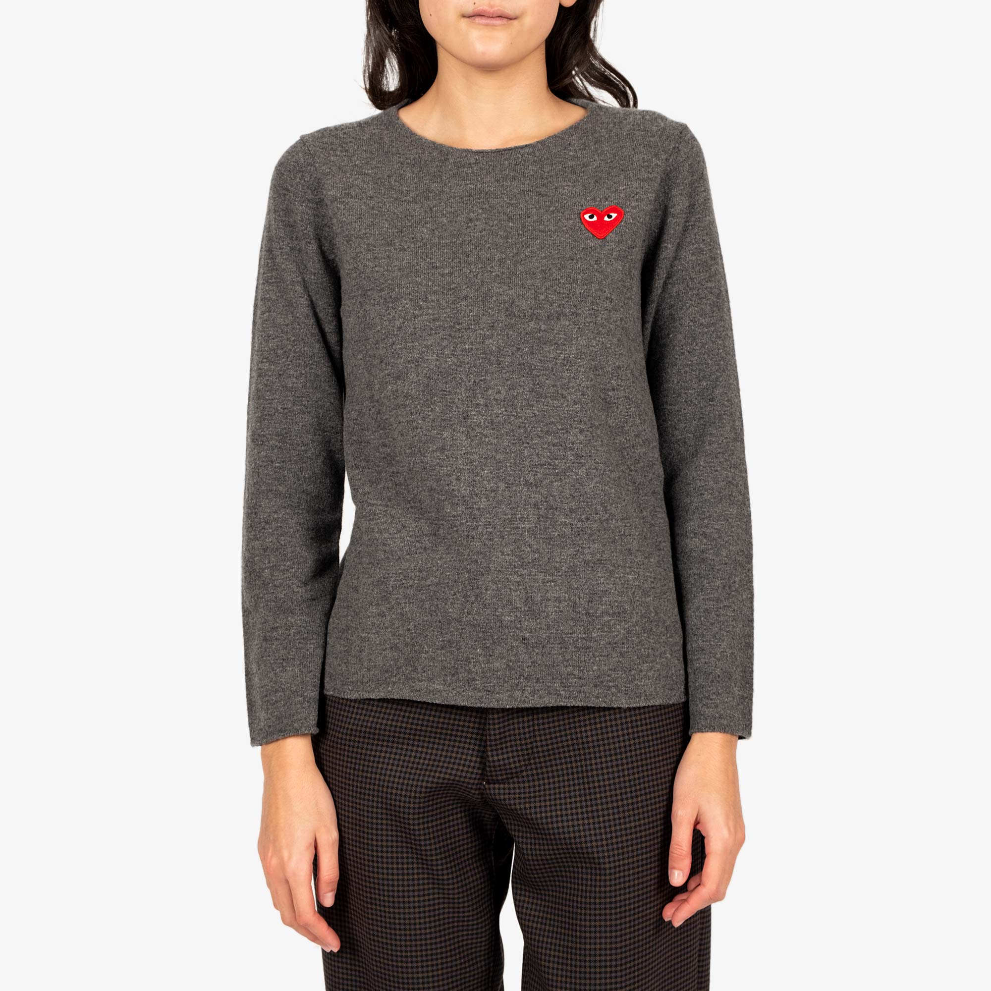 Comme des Garçons - PLAY Red Emblem Womens Sweat - Grey 1