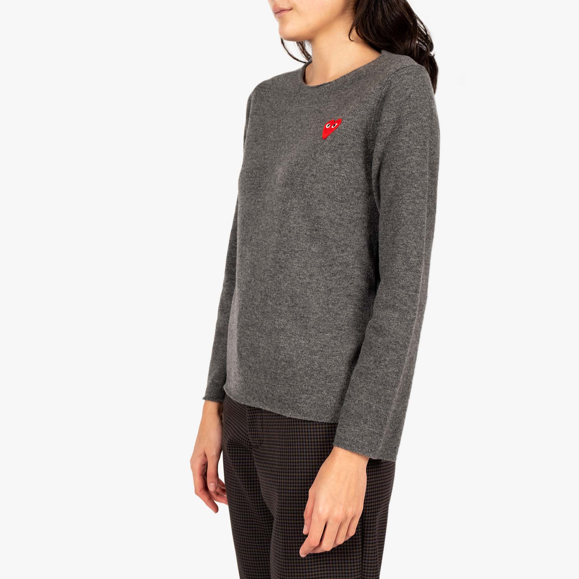 Comme des Garçons - PLAY Red Emblem Womens Sweat - Grey 2