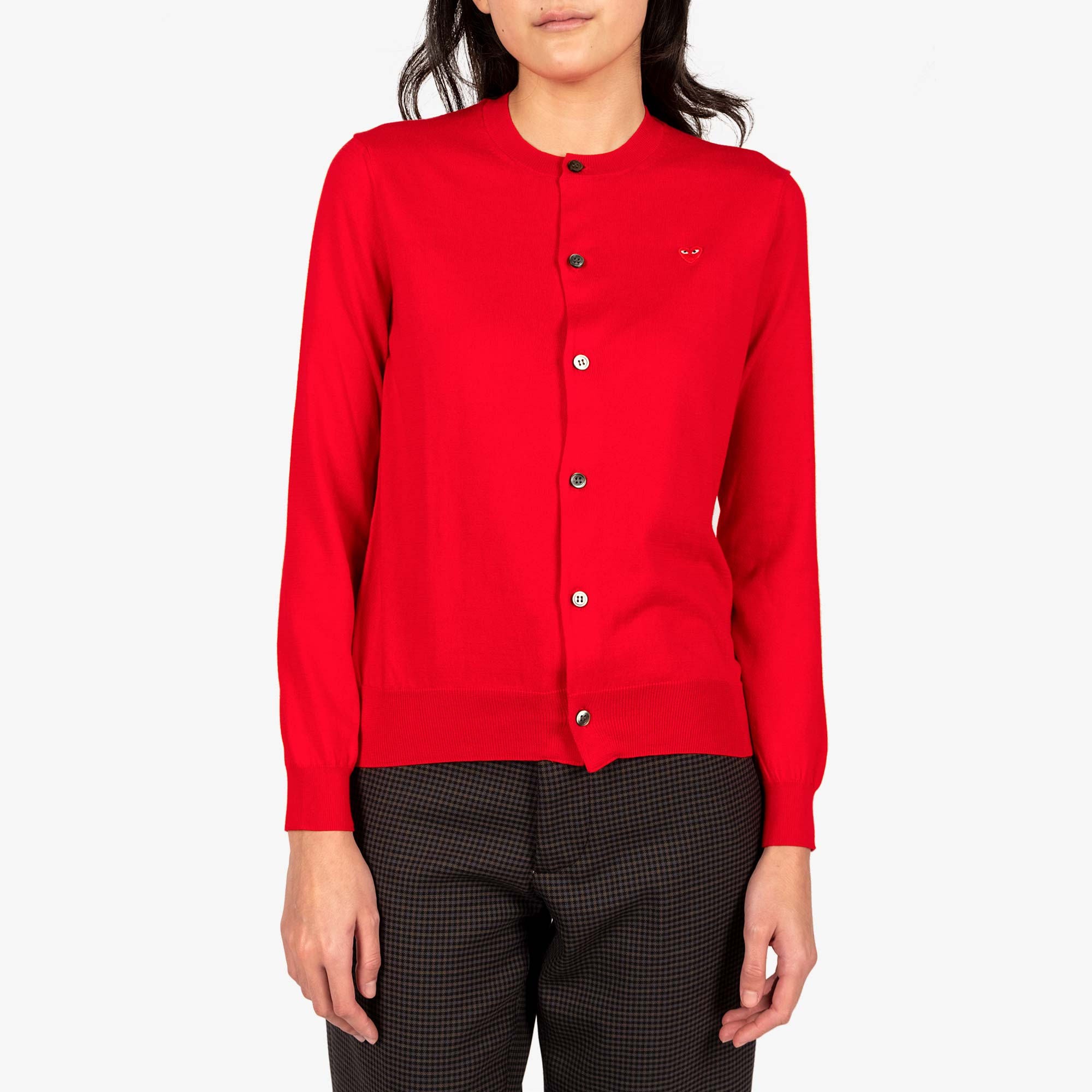 Comme des Garçons - PLAY Small Red Emblem  Womens Cardigan - Red 1