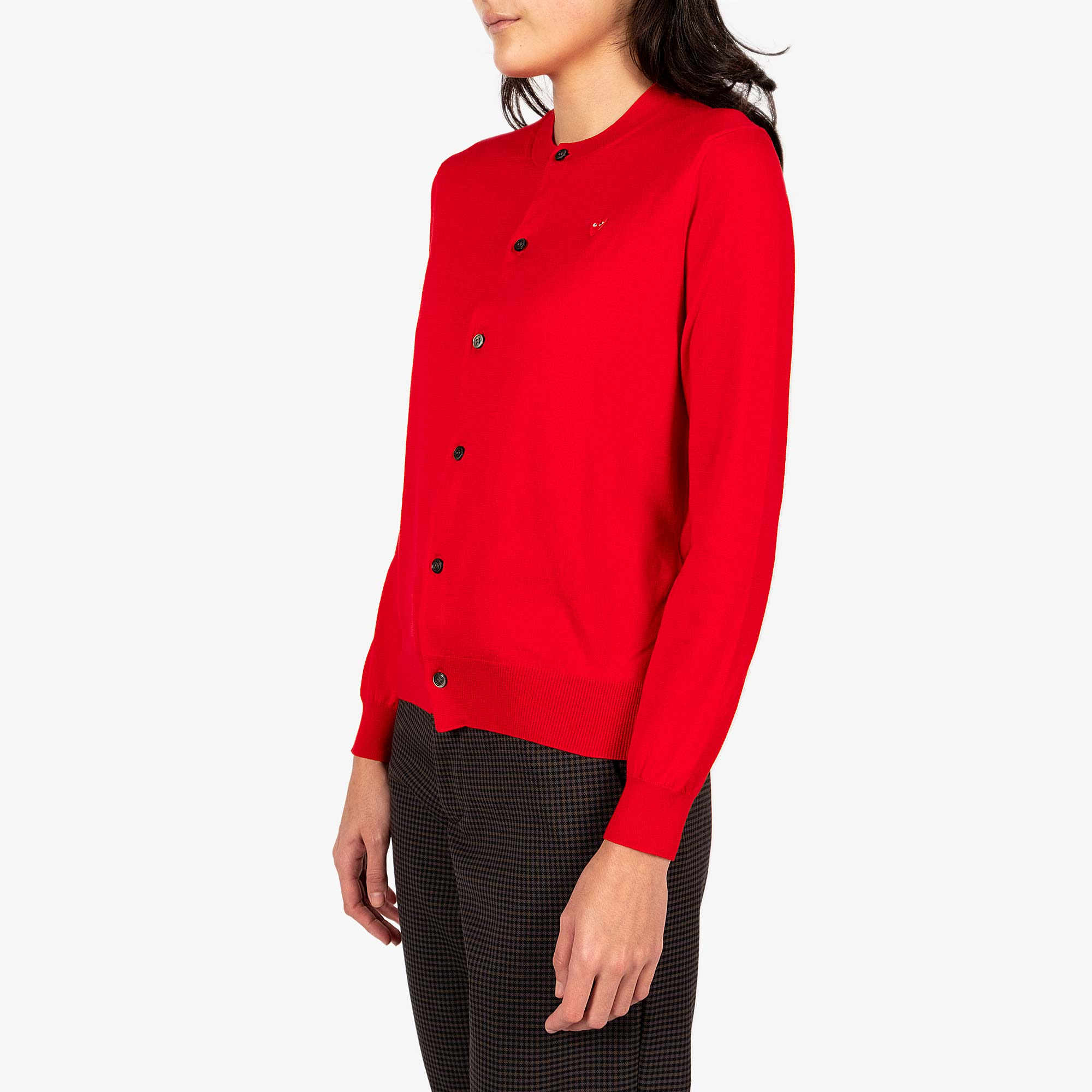 Comme des Garçons - PLAY Small Red Emblem  Womens Cardigan - Red 4