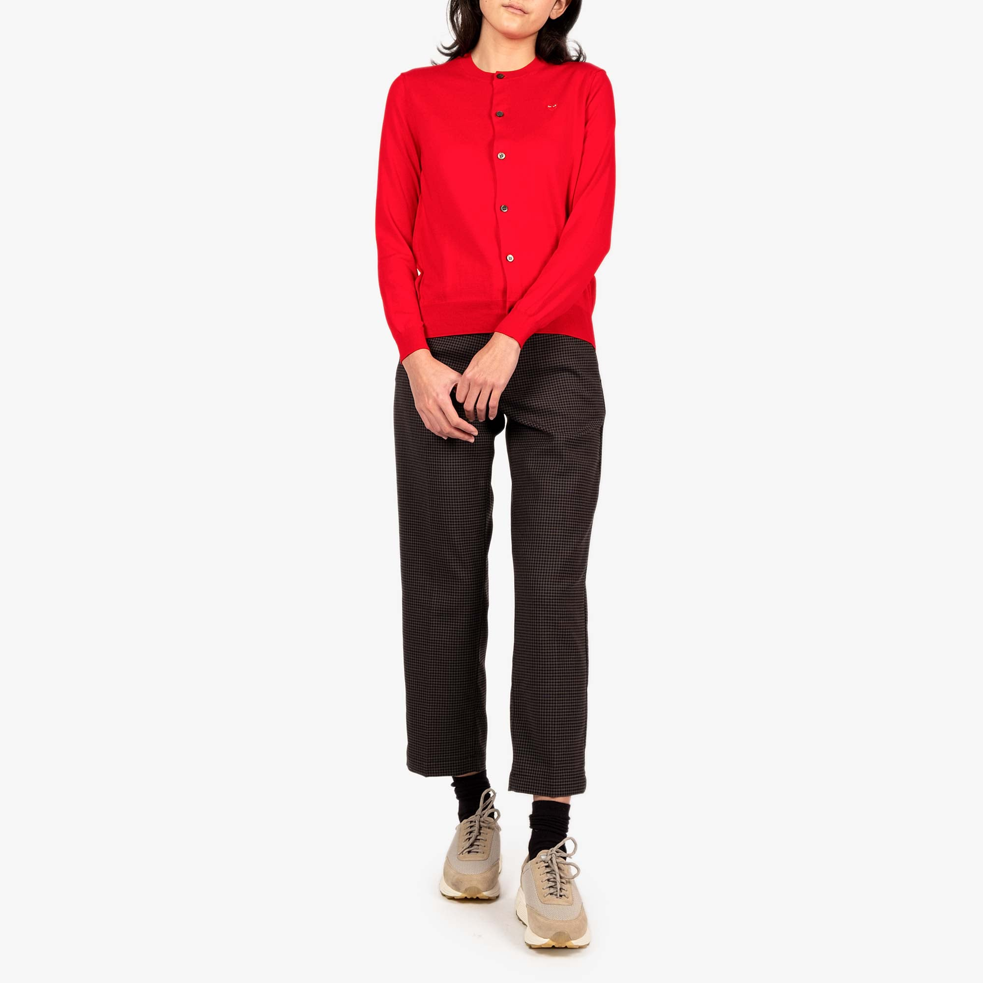 Comme des Garçons - PLAY Small Red Emblem  Womens Cardigan - Red 3