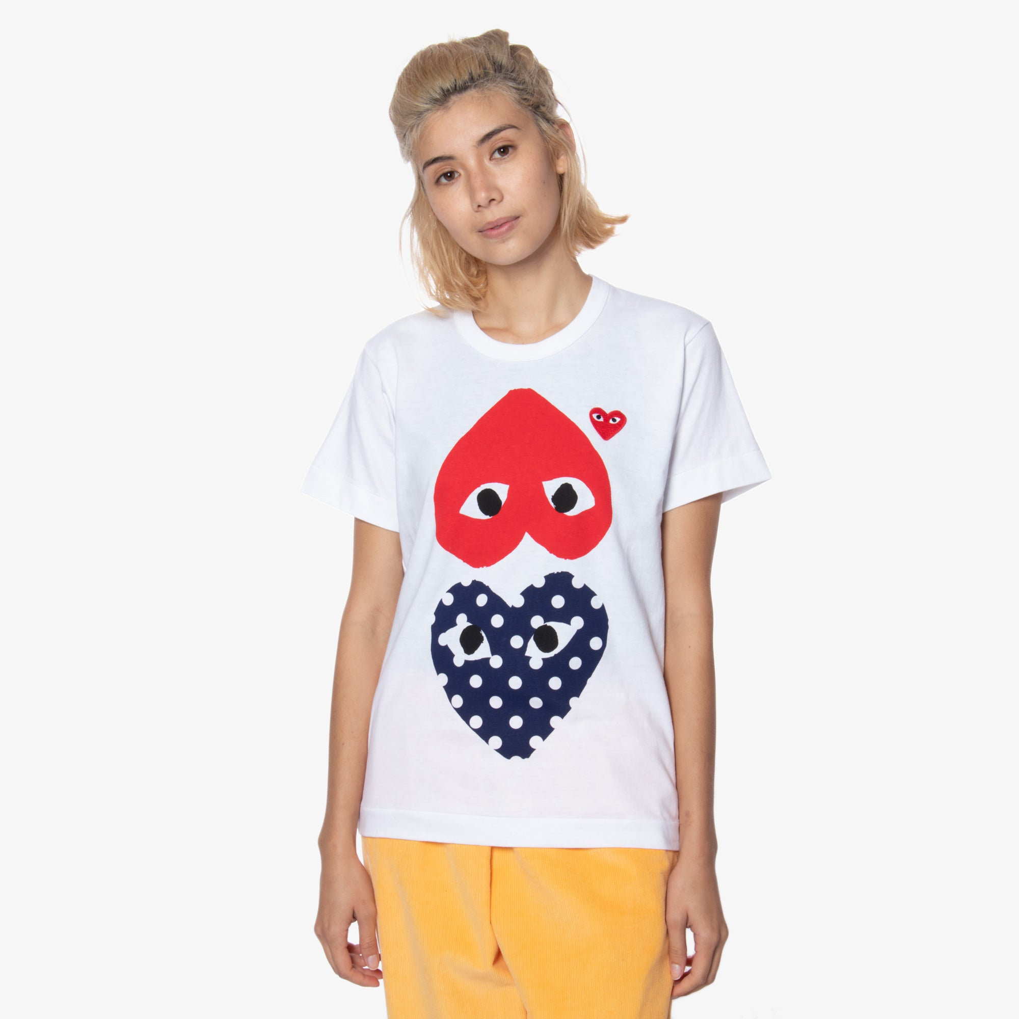 Comme des Garçons - PLAY Upside Down Double Heart Polka Dot Womens Tee - White 1