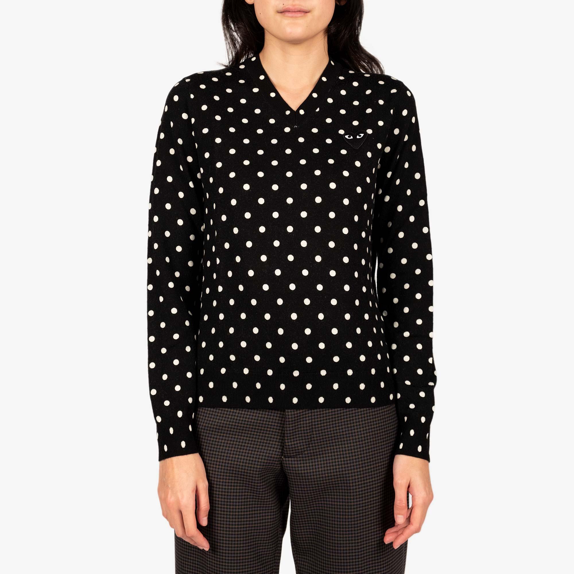 Comme des Garçons - PLAY Womens Black Emblem Polka Dot V-Neck Pullover - Black 1