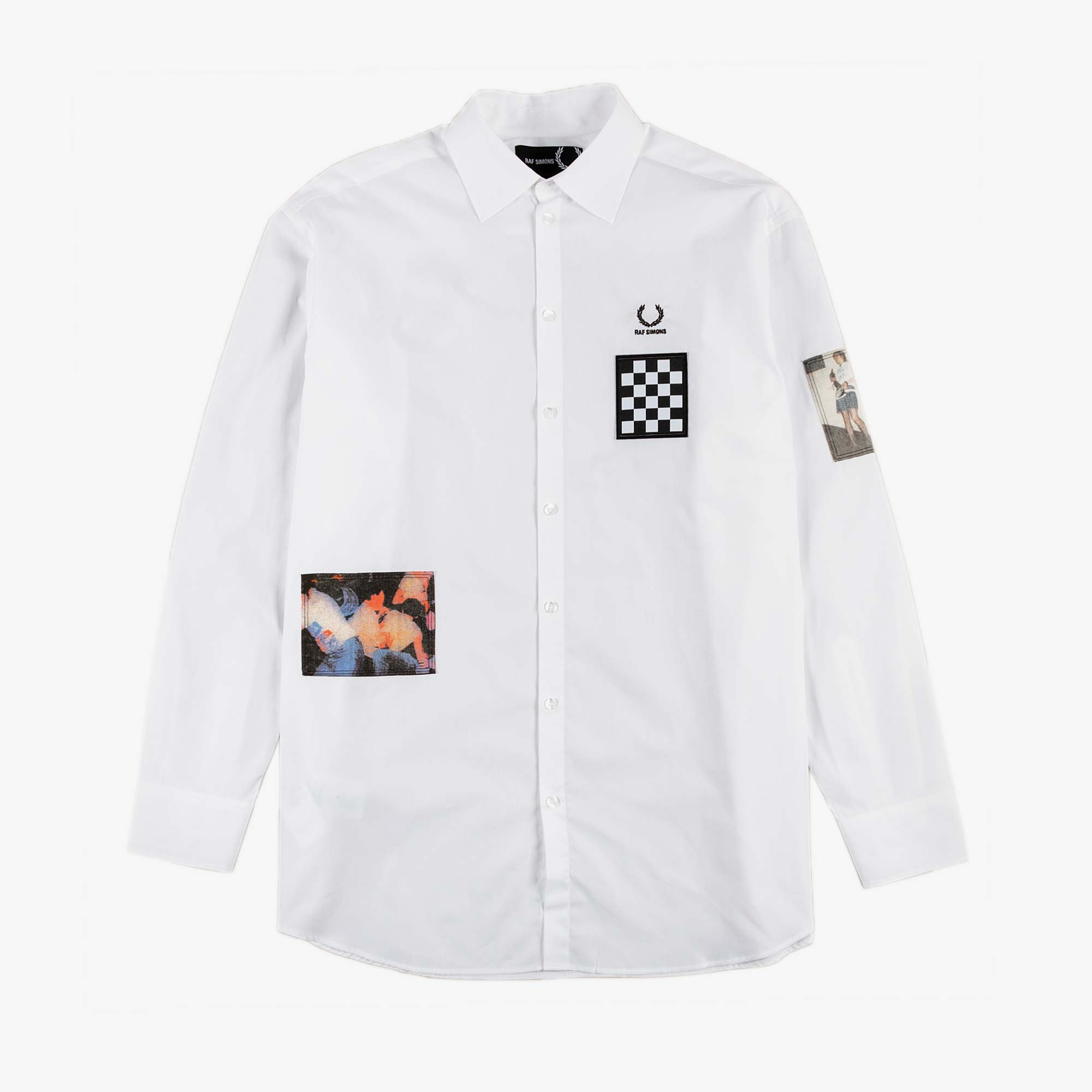 Fred Perry X Raf Simons Oversized Patch LS Shirt - White 1