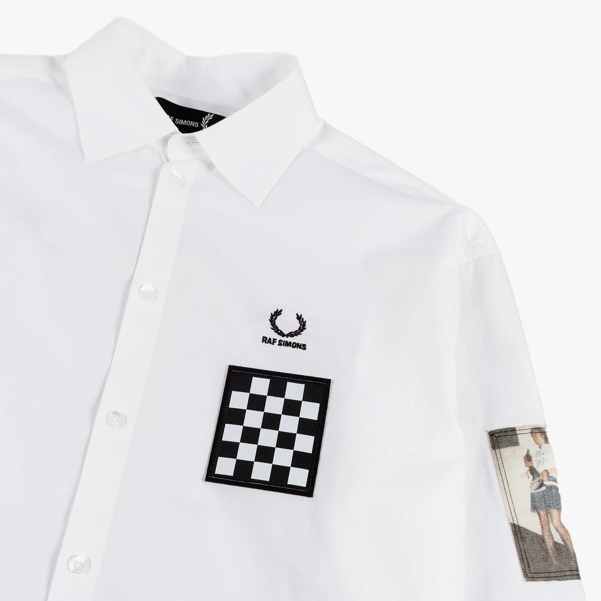 Fred Perry X Raf Simons Oversized Patch LS Shirt - White 2