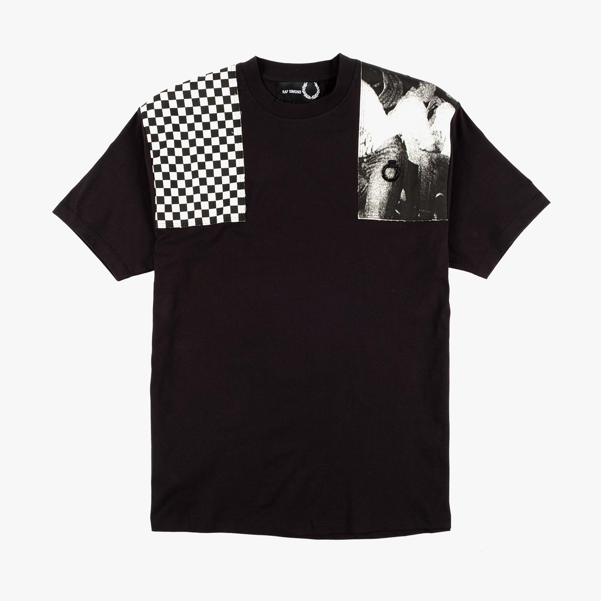 Fred Perry X Raf Simons Oversized Printed Patch Tee - Black 1