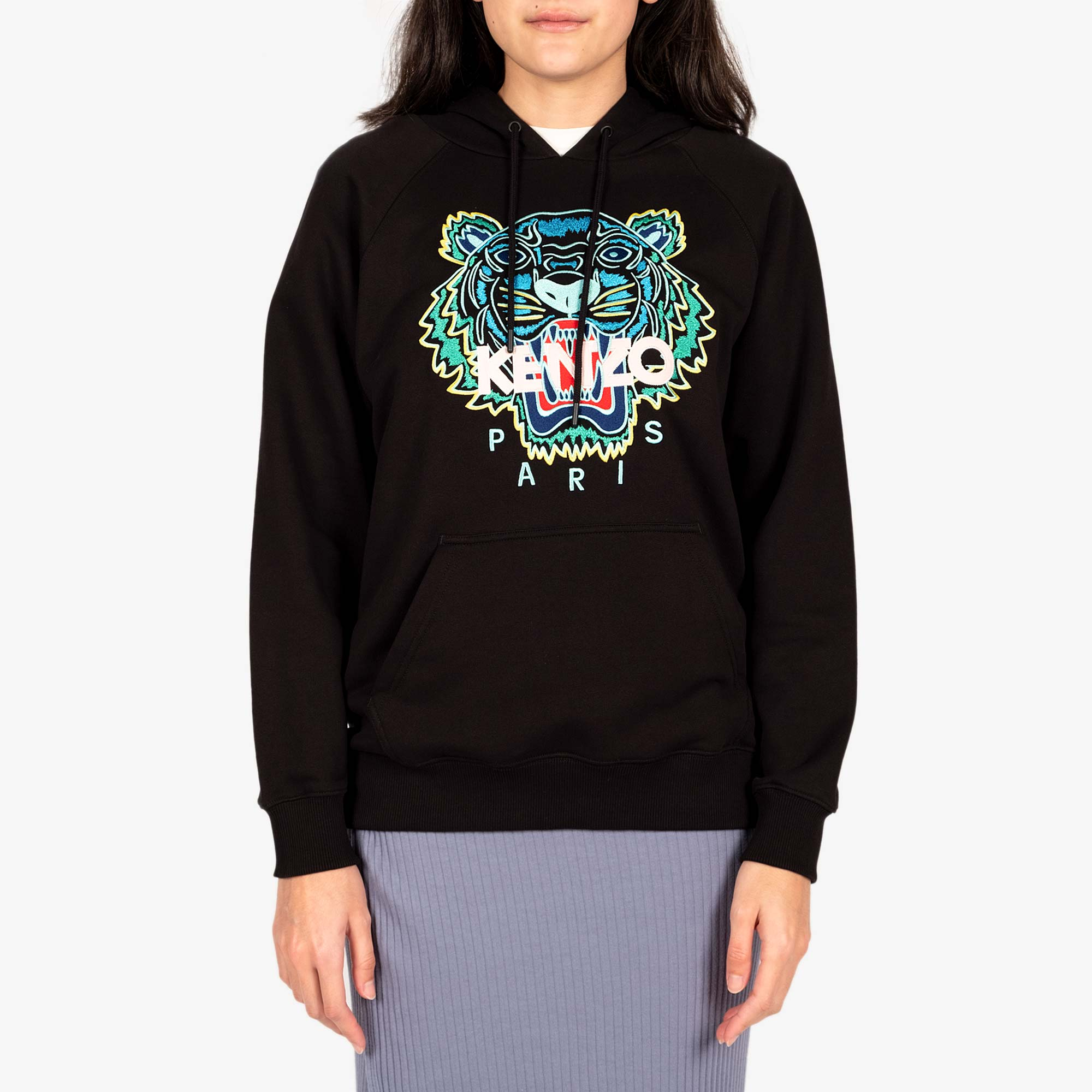 Kenzo Womens Tiger Hooded Sweatshirt - Black 1