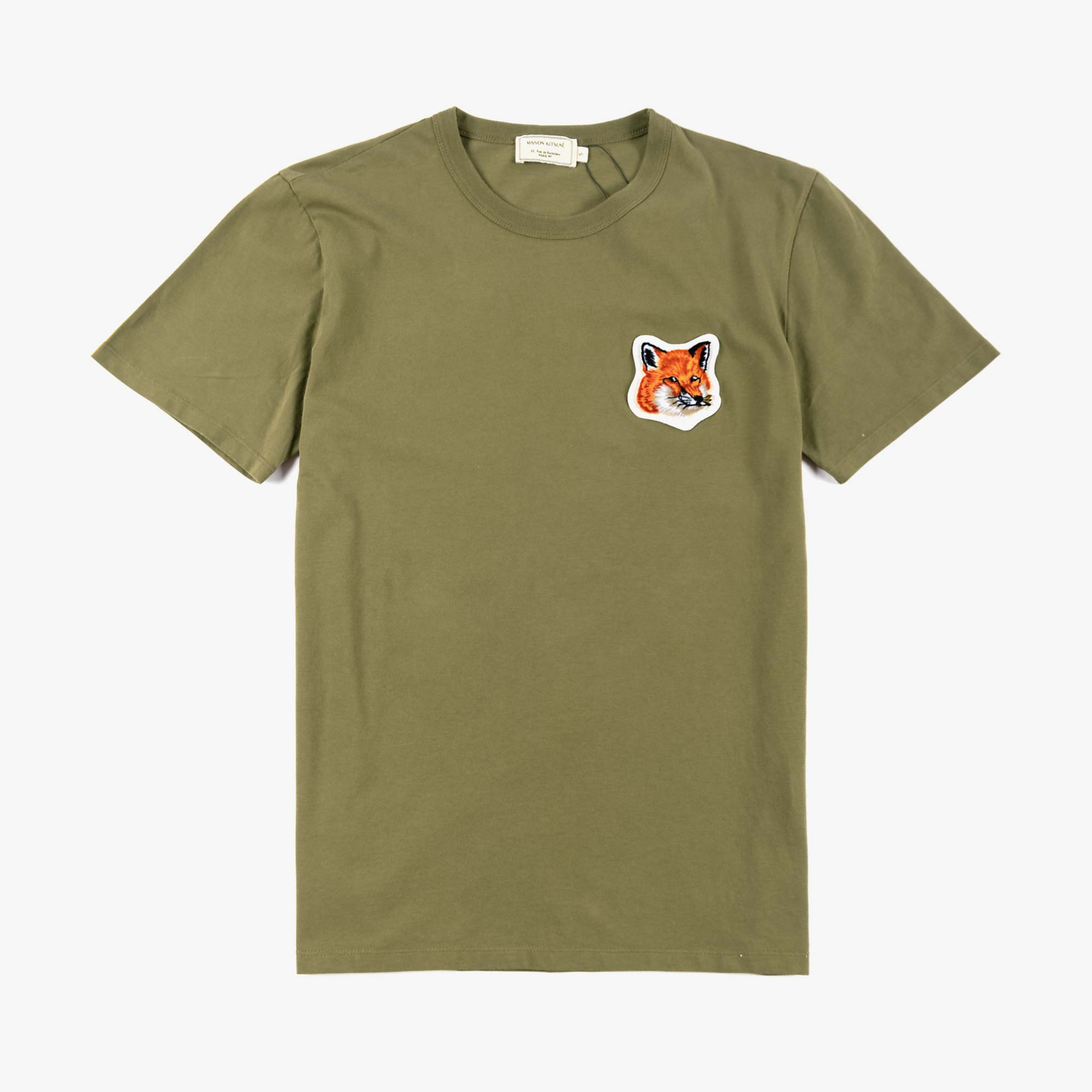 Maison Kitsune Men's Velvet Fox Head Patch Tee - Khaki 1