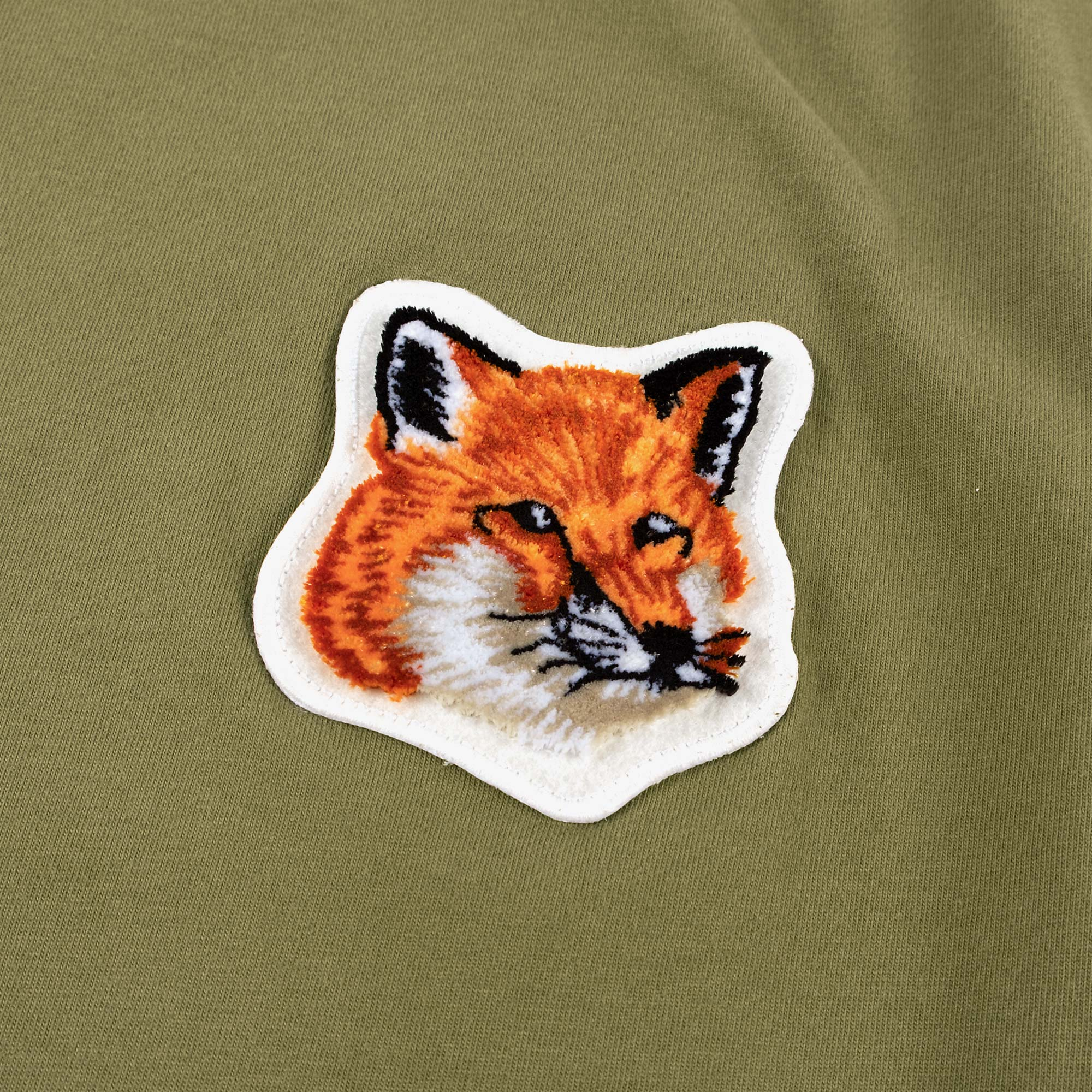 Maison Kitsune Men's Velvet Fox Head Patch Tee - Khaki 2