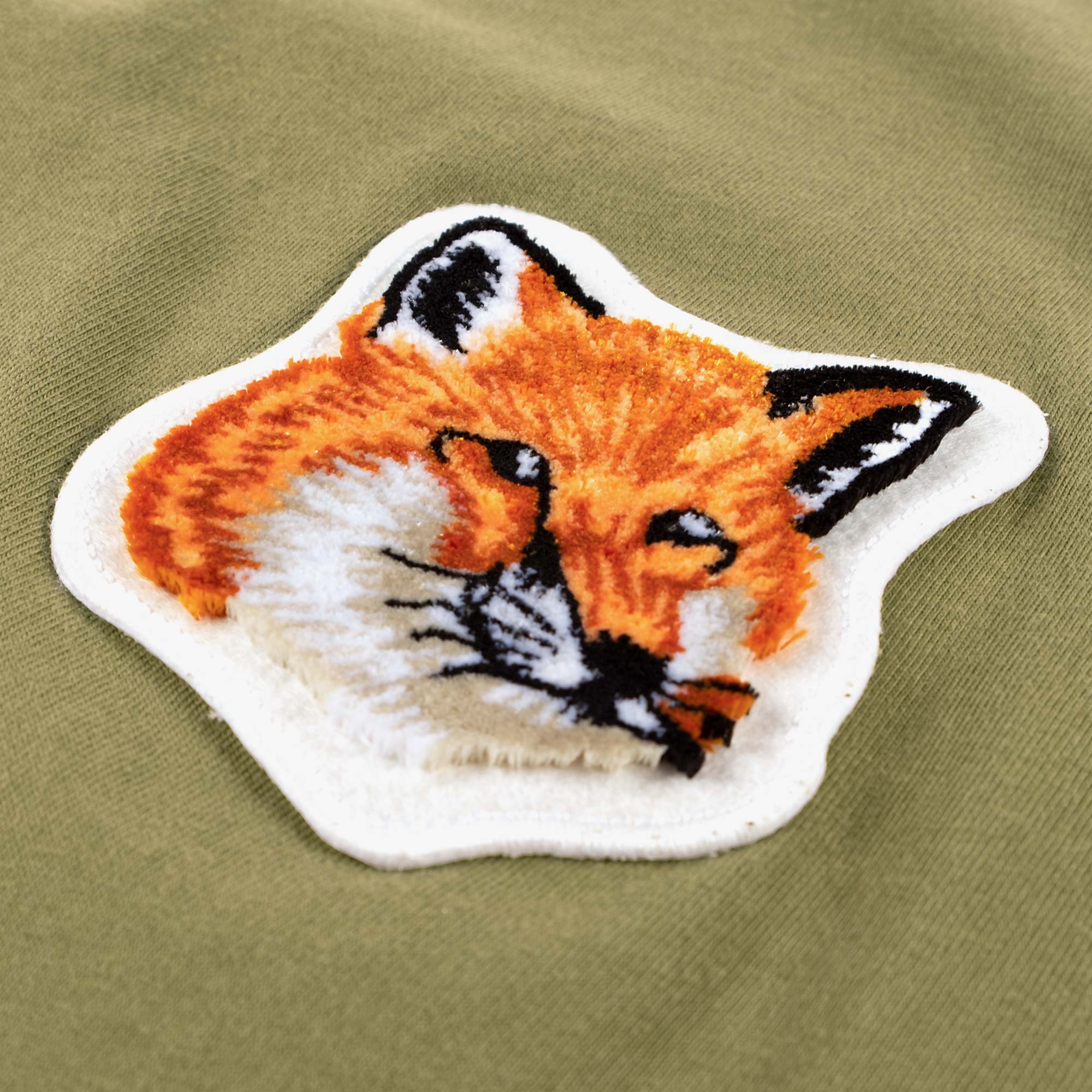 Maison Kitsune Men's Velvet Fox Head Patch Tee - Khaki 3