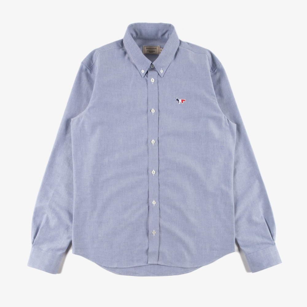 Maison Kitsune Tricolor Fox Patch Oxford Shirt - Navy 1