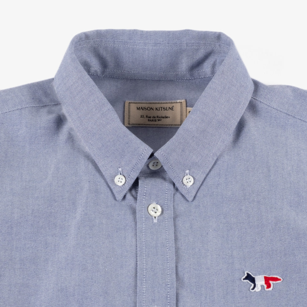 Maison Kitsune Tricolor Fox Patch Oxford Shirt - Navy 3