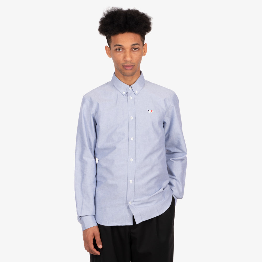 Maison Kitsune Tricolor Fox Patch Oxford Shirt - Navy 5