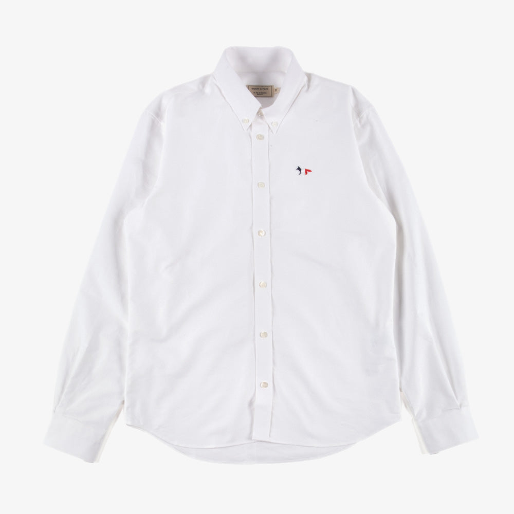 Maison Kitsune Tricolor Fox Patch Oxford Shirt - White 1