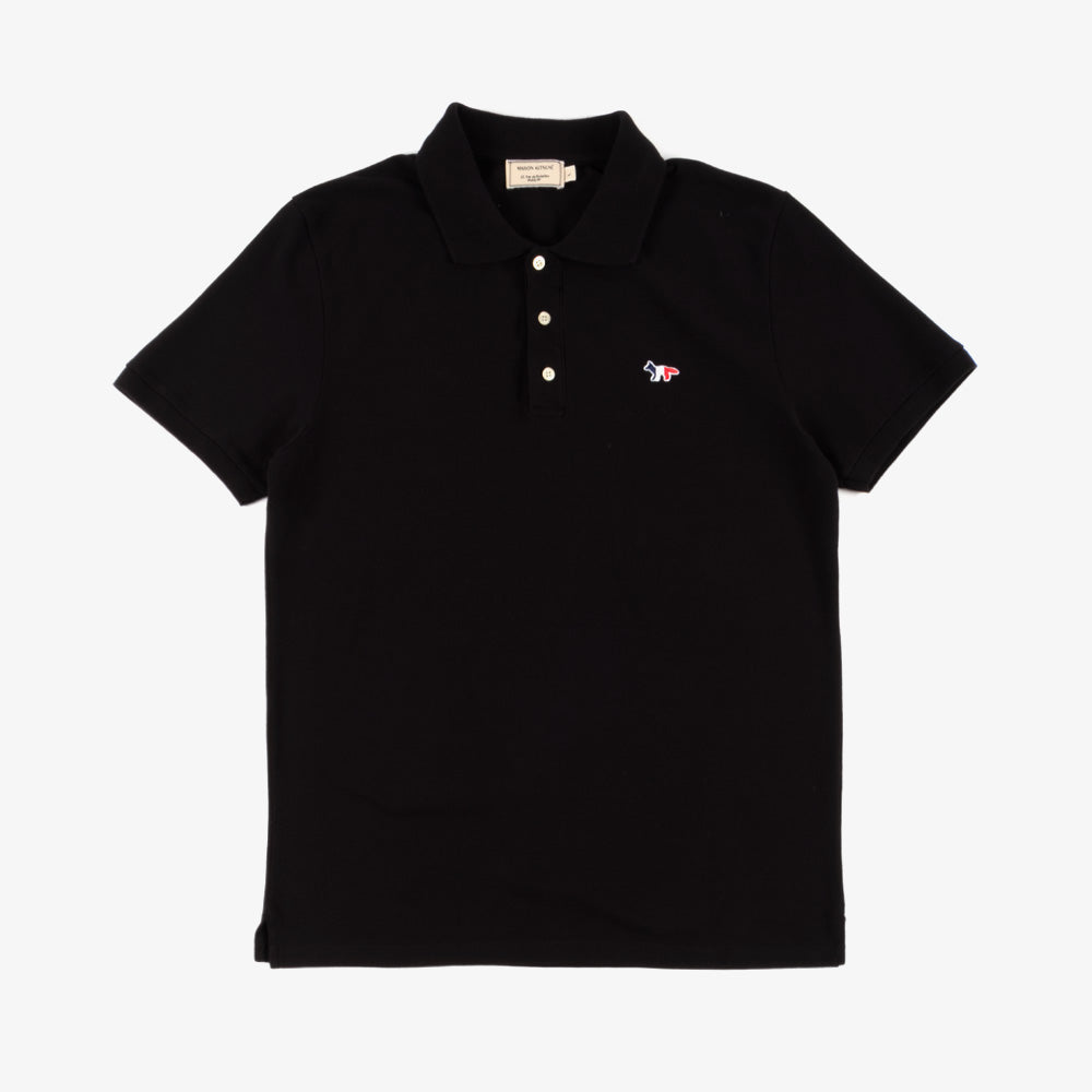 Maison Kitsune Tricolor Fox Patch Polo - Black 1