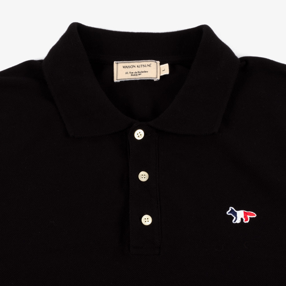 Maison Kitsune Tricolor Fox Patch Polo - Black 2