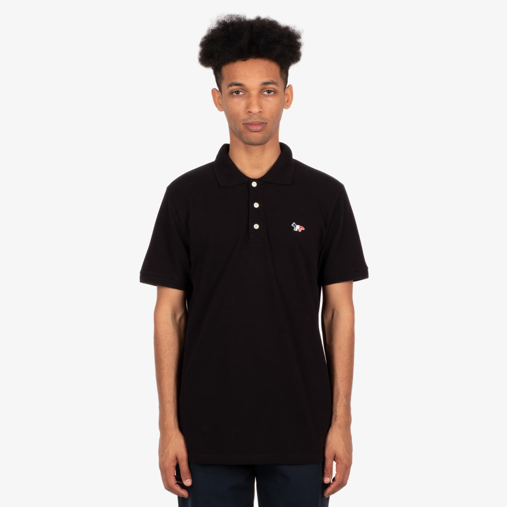 Maison Kitsune Tricolor Fox Patch Polo - Black 4