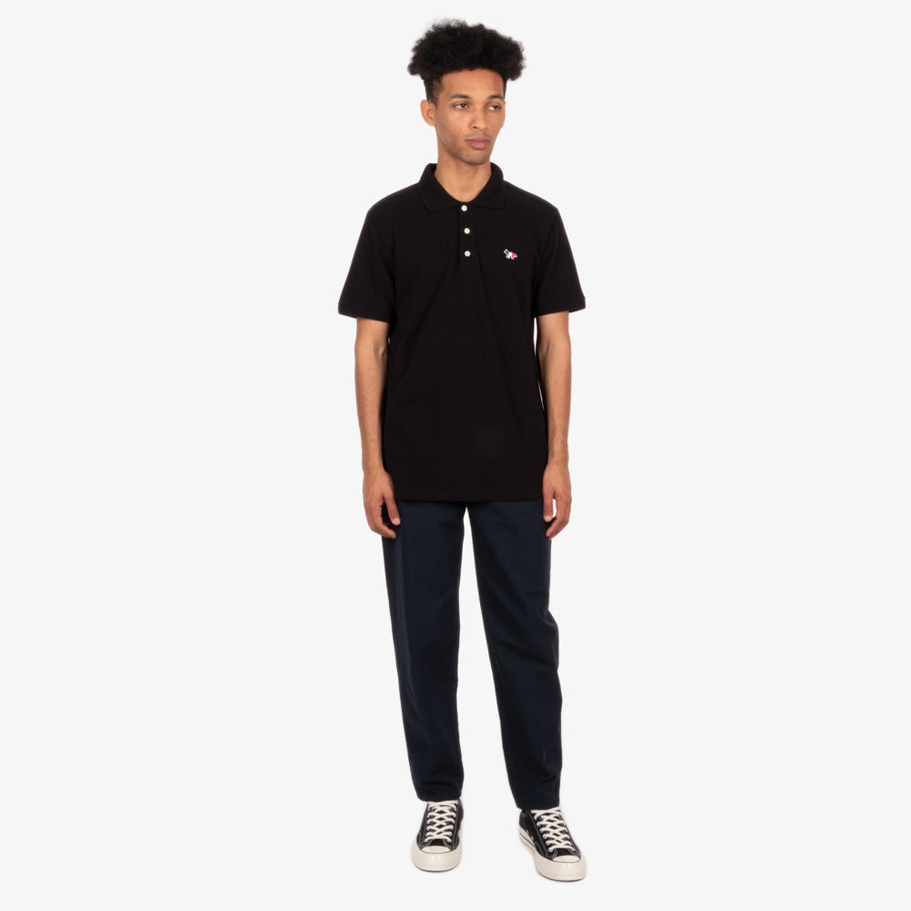 Maison Kitsune Tricolor Fox Patch Polo - Black 5
