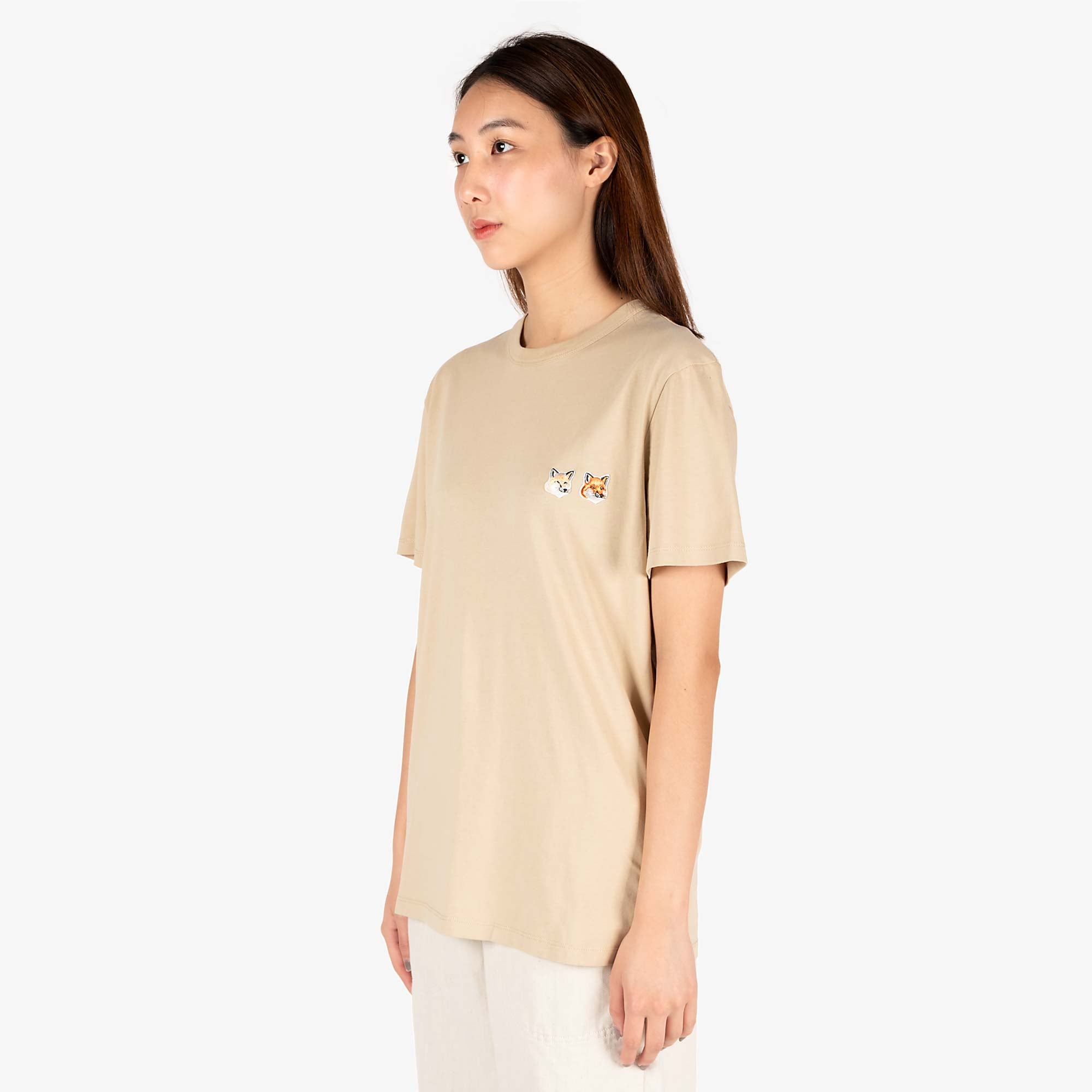 Maison Kitsune Womens Double Fox Head Patch T-Shirt - Beige 4