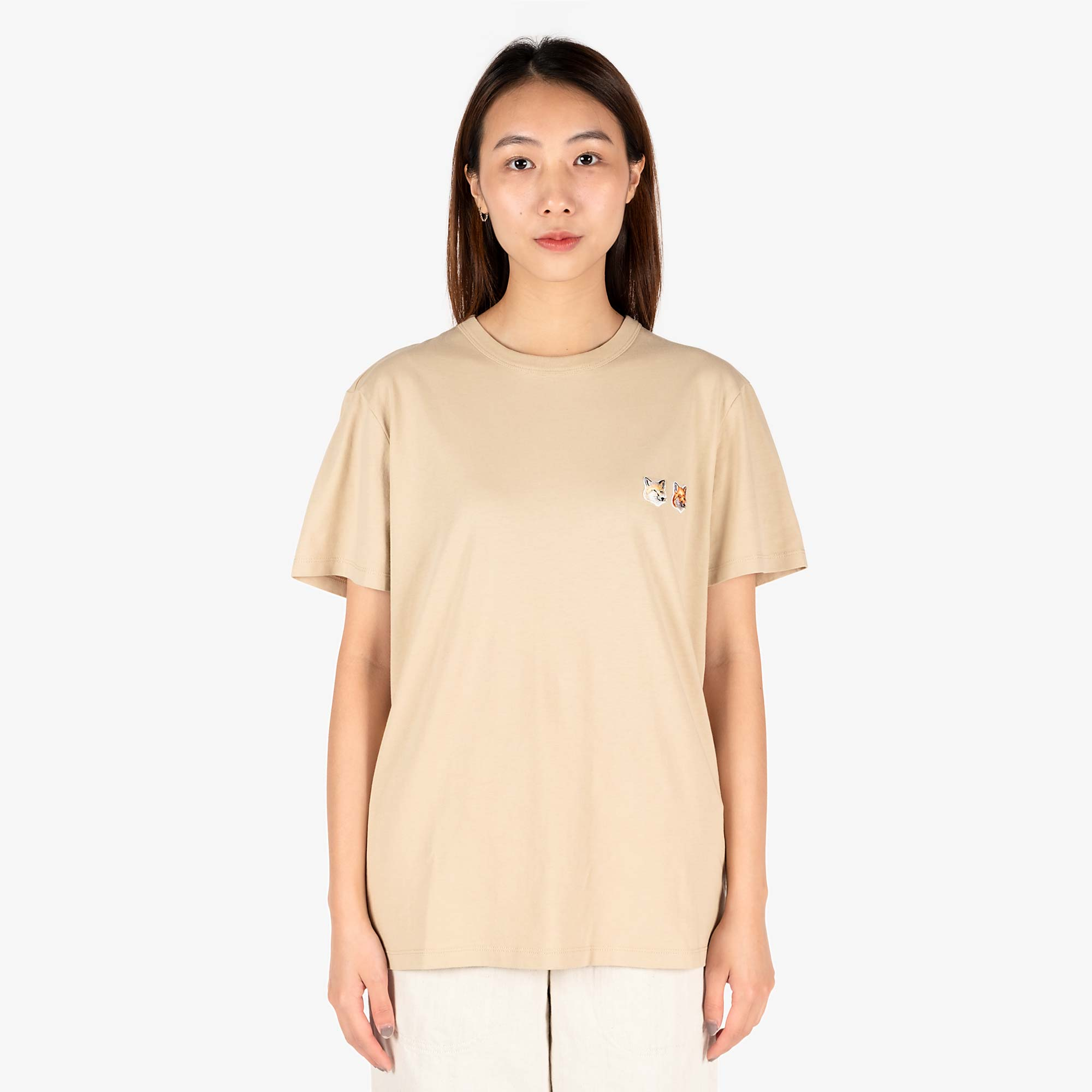 Maison Kitsune Womens Double Fox Head Patch T-Shirt - Beige 1