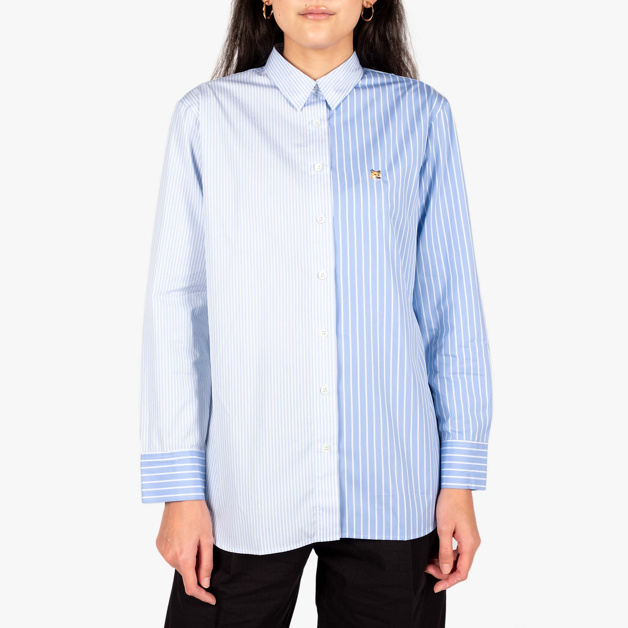 Maison Kitsune Womens Fox Head Classic Shirt - Blue Stripe 1