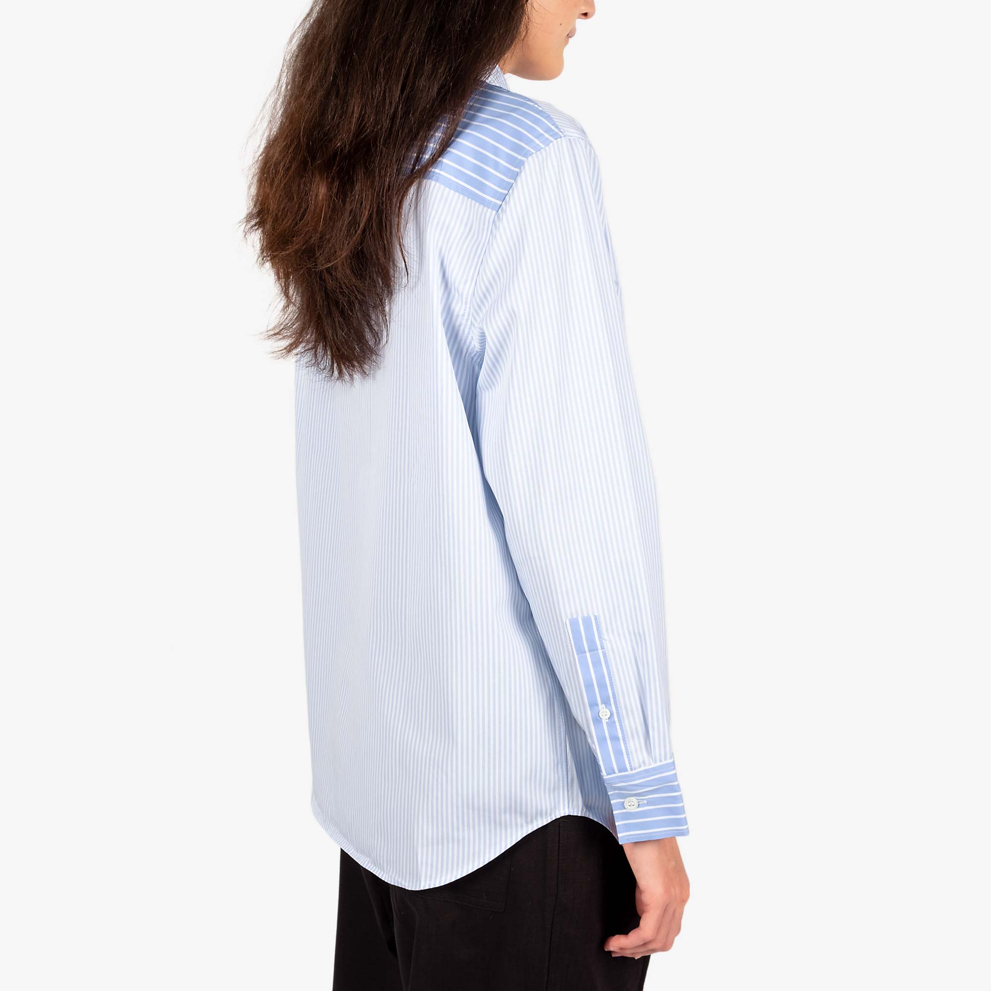 Maison Kitsune Womens Fox Head Classic Shirt - Blue Stripe 4
