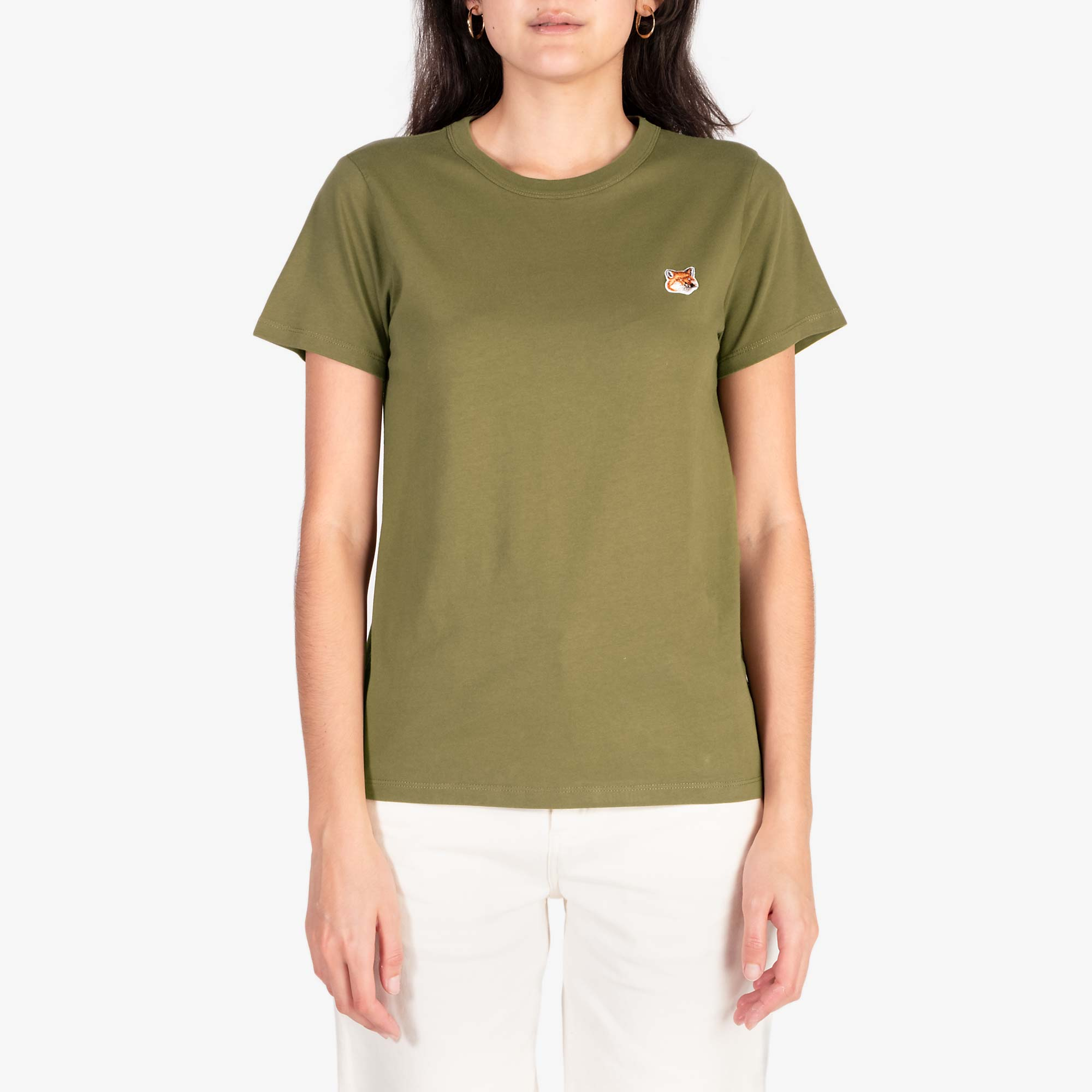 Maison Kitsune Women's Fox Head Patch Tee - Khaki 1