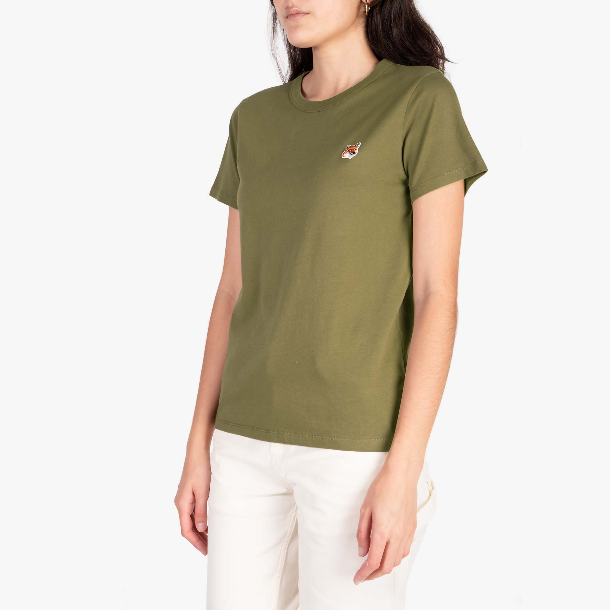 Maison Kitsune Women's Fox Head Patch Tee - Khaki 4