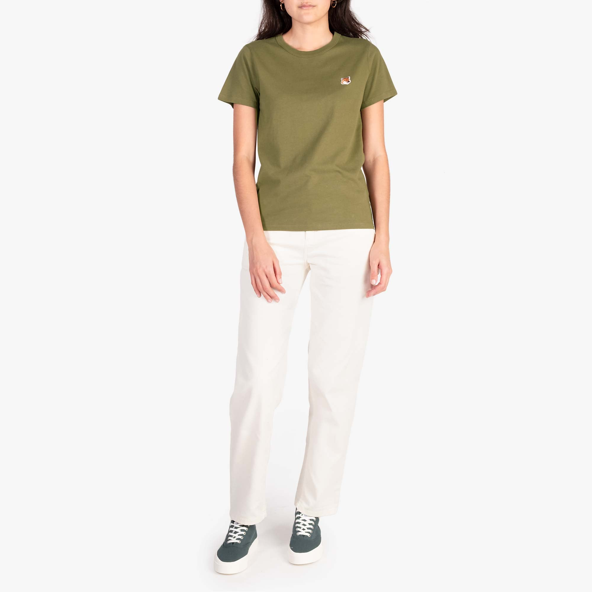Maison Kitsune Women's Fox Head Patch Tee - Khaki 3