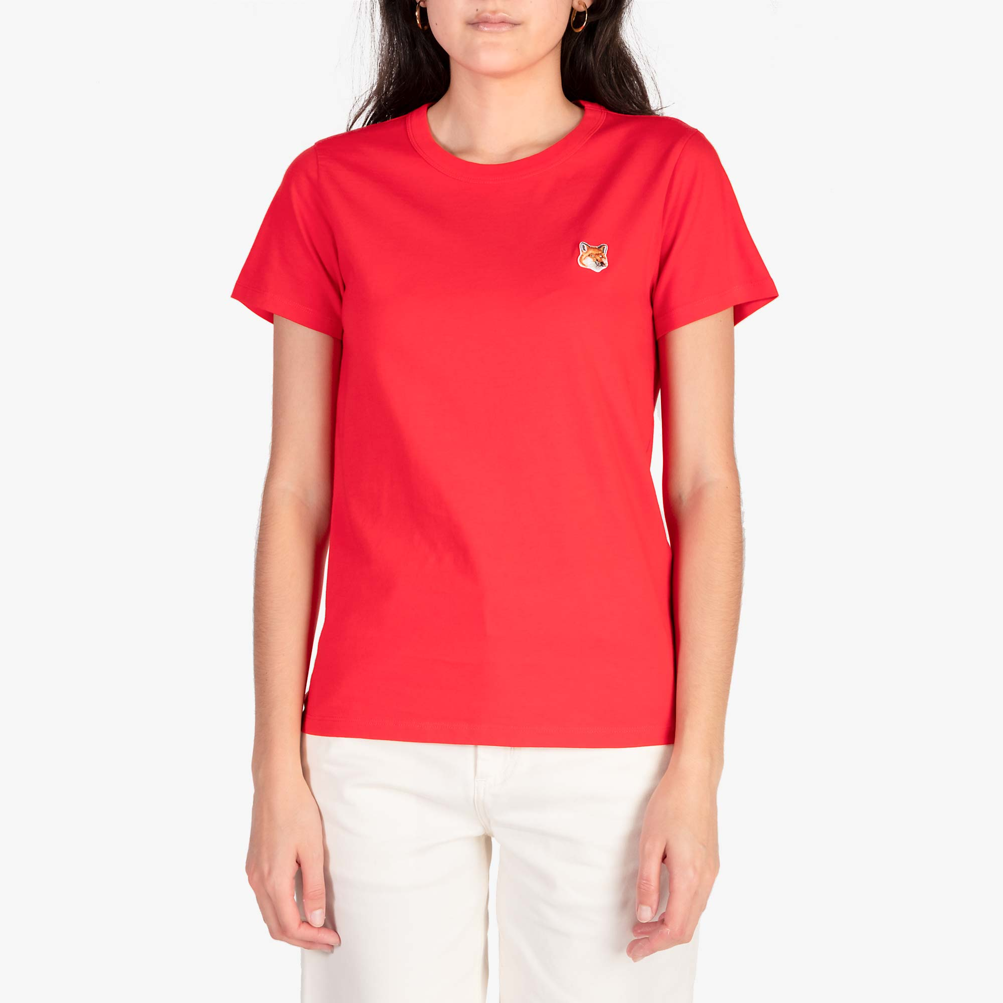 Maison Kitsune Women's Fox Head Patch Tee - Red 1