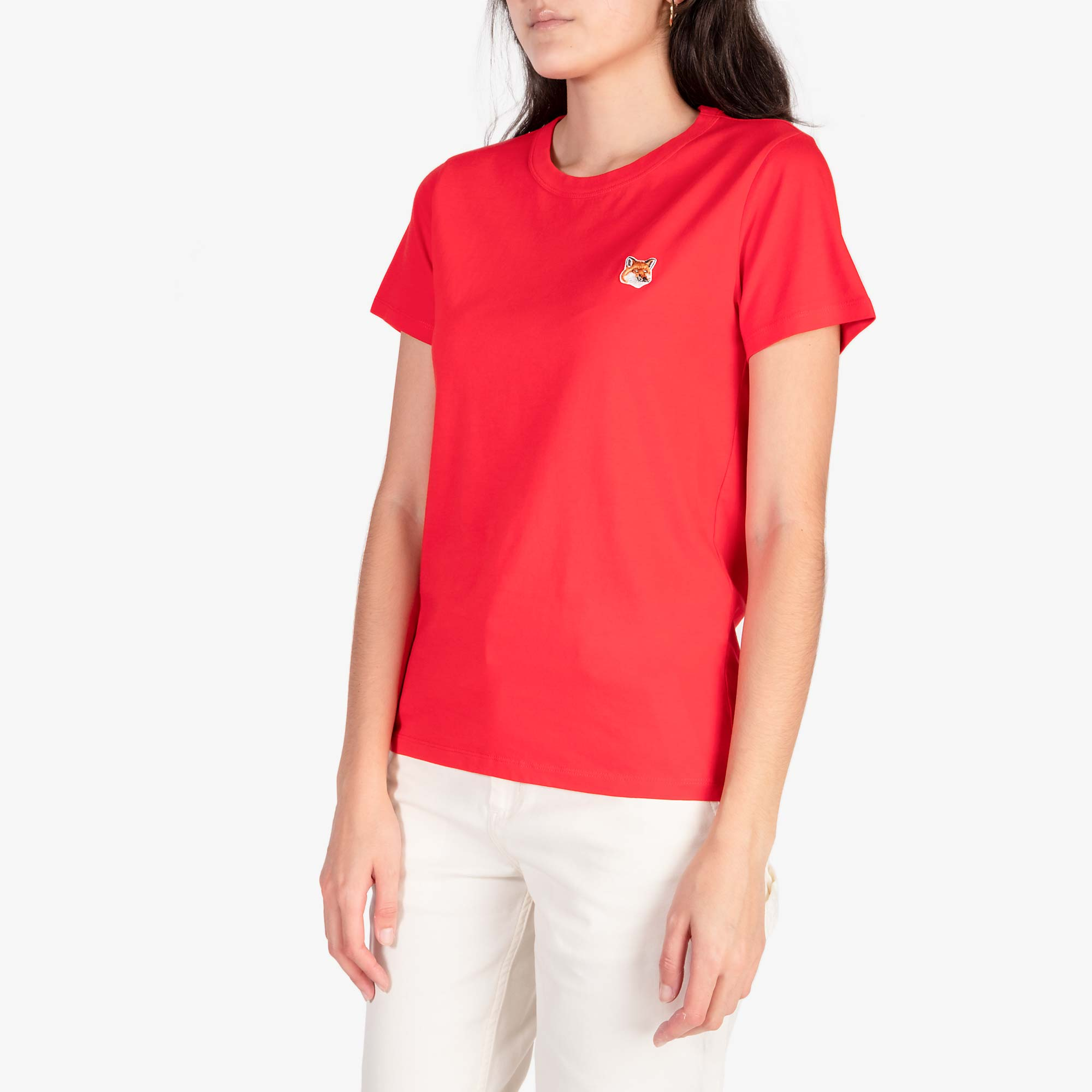Maison Kitsune Women's Fox Head Patch Tee - Red 4