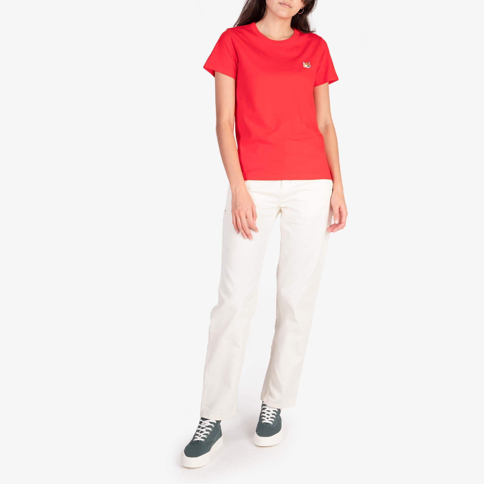 Maison Kitsune Women's Fox Head Patch Tee - Red 3