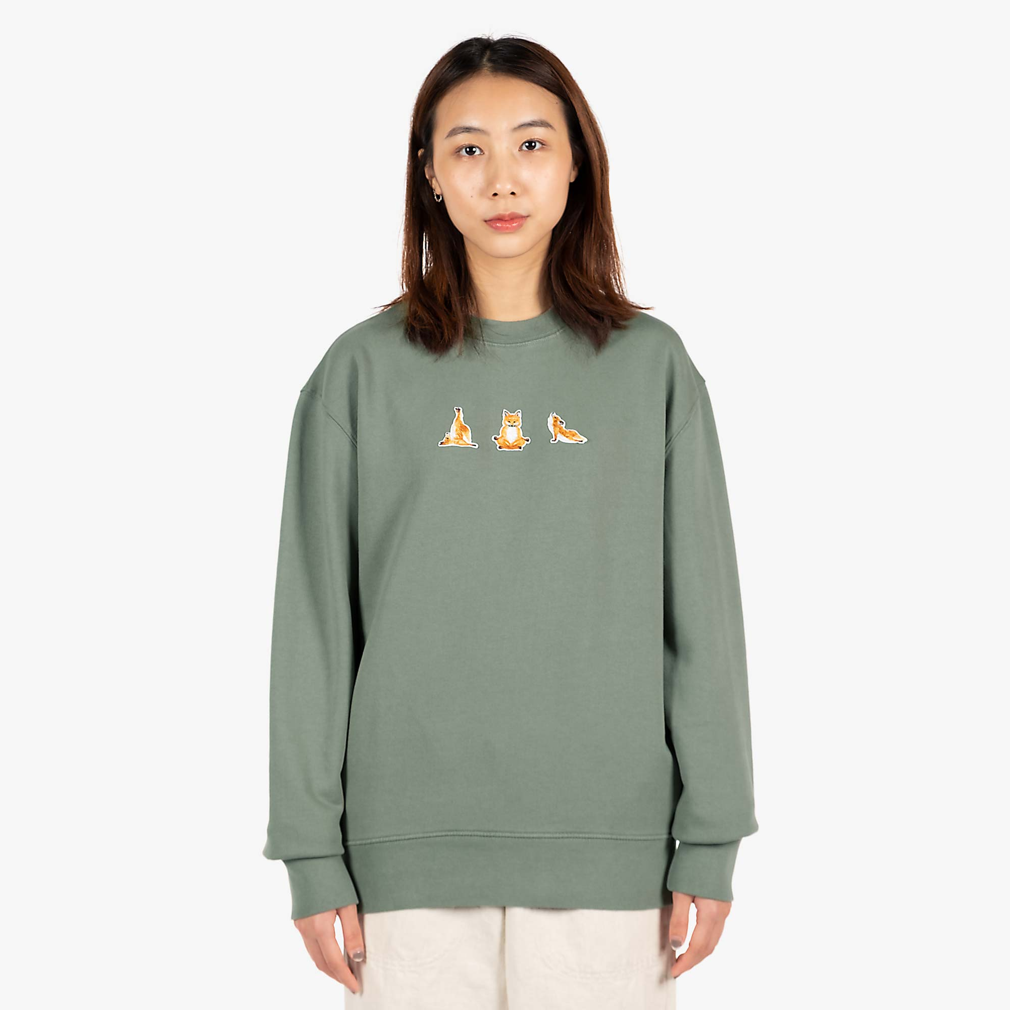 Maison Kitsune Womens Yoga Fox Patches Sweat - Blue / Green 1