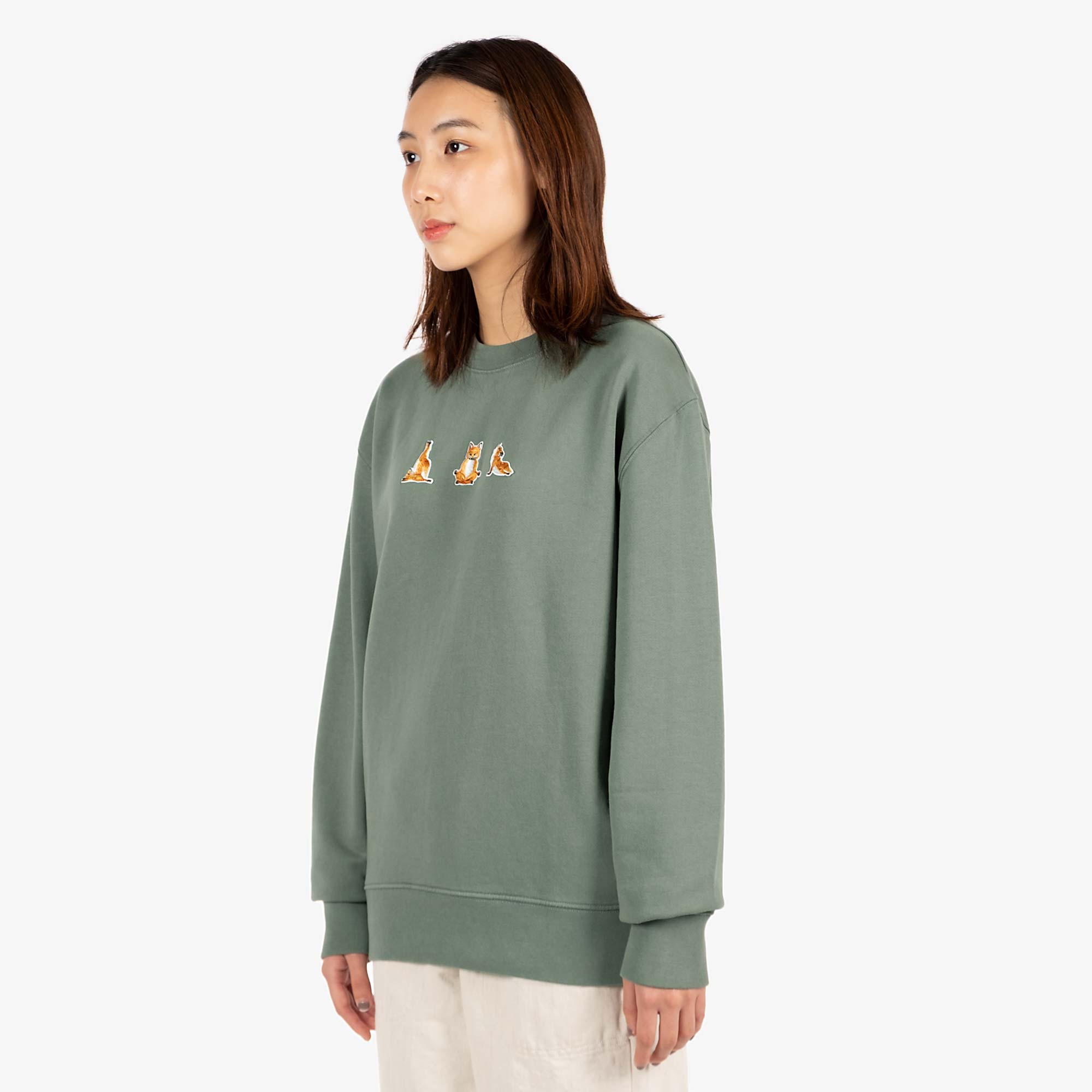 Maison Kitsune Womens Yoga Fox Patches Sweat - Blue / Green 4