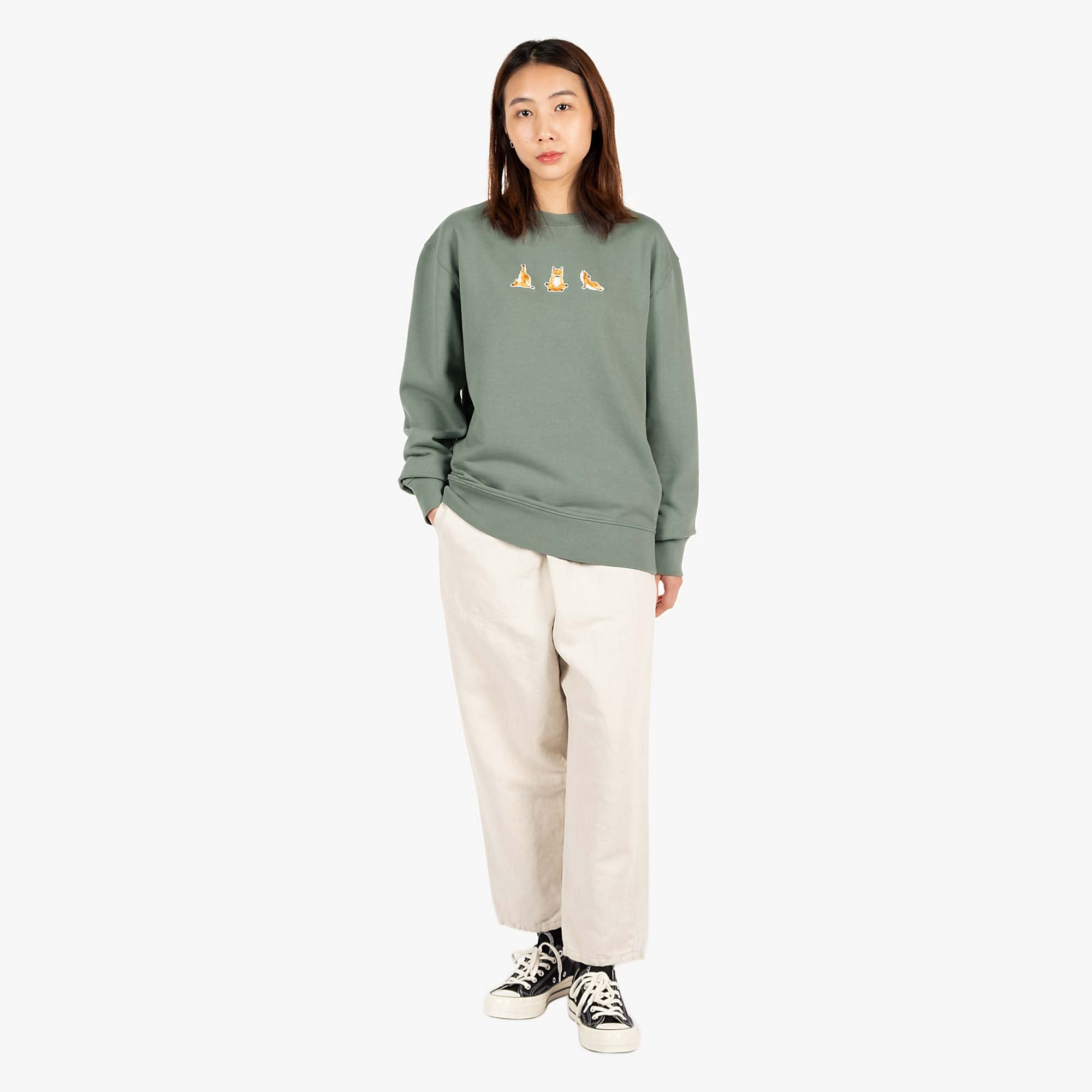 Maison Kitsune Womens Yoga Fox Patches Sweat - Blue / Green 2