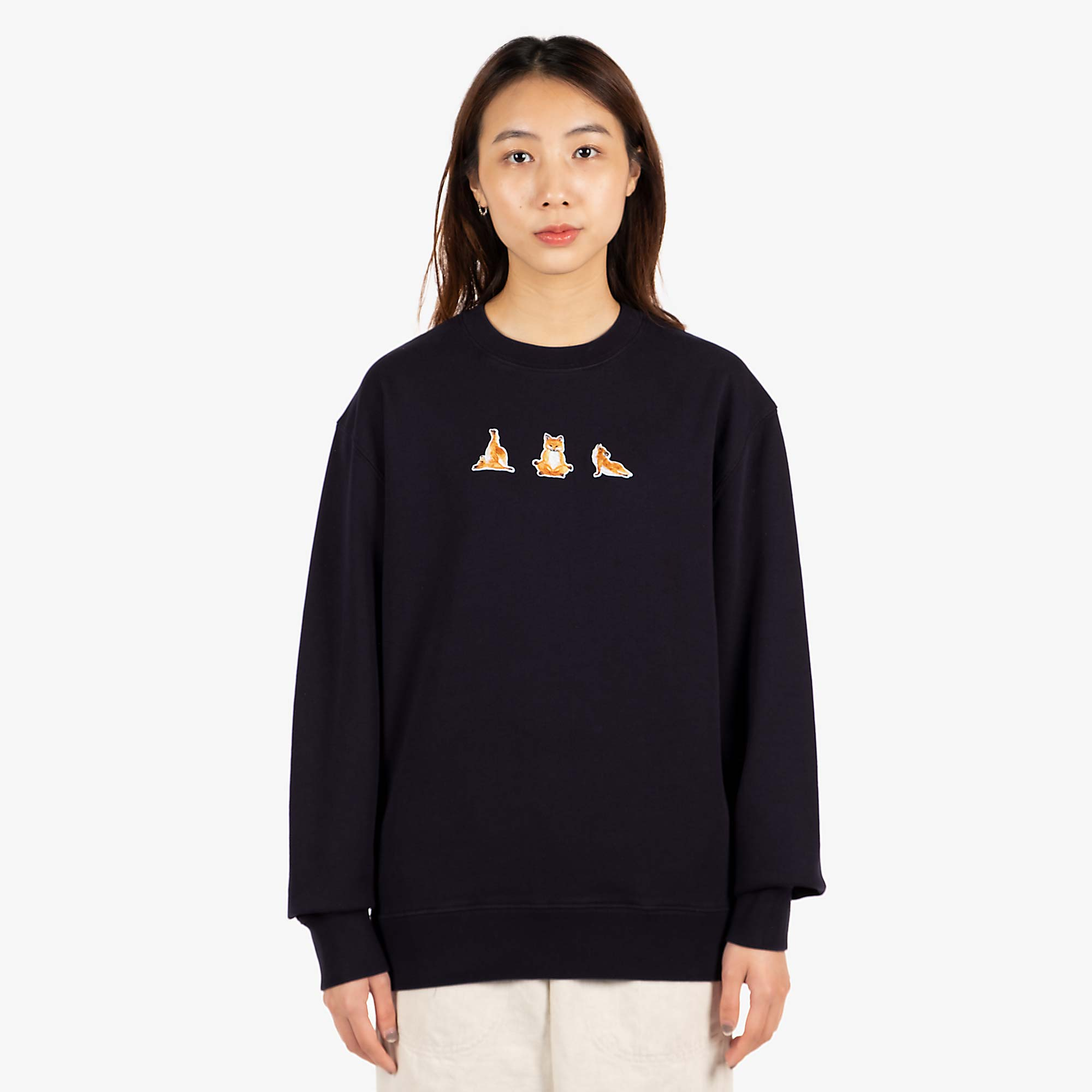 Maison Kitsune Womens Yoga Fox Patches Sweat - Navy 1
