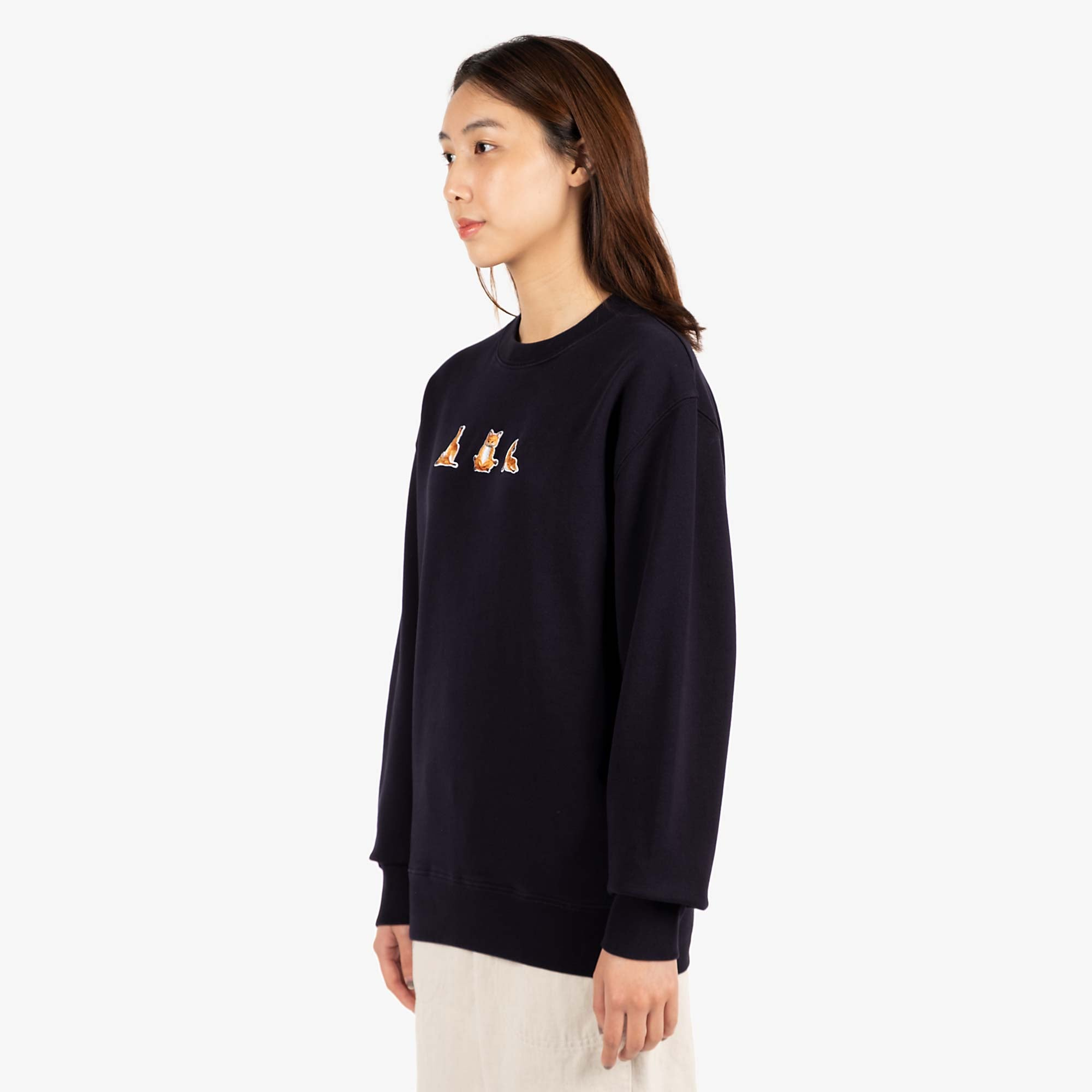 Maison Kitsune Womens Yoga Fox Patches Sweat - Navy 4