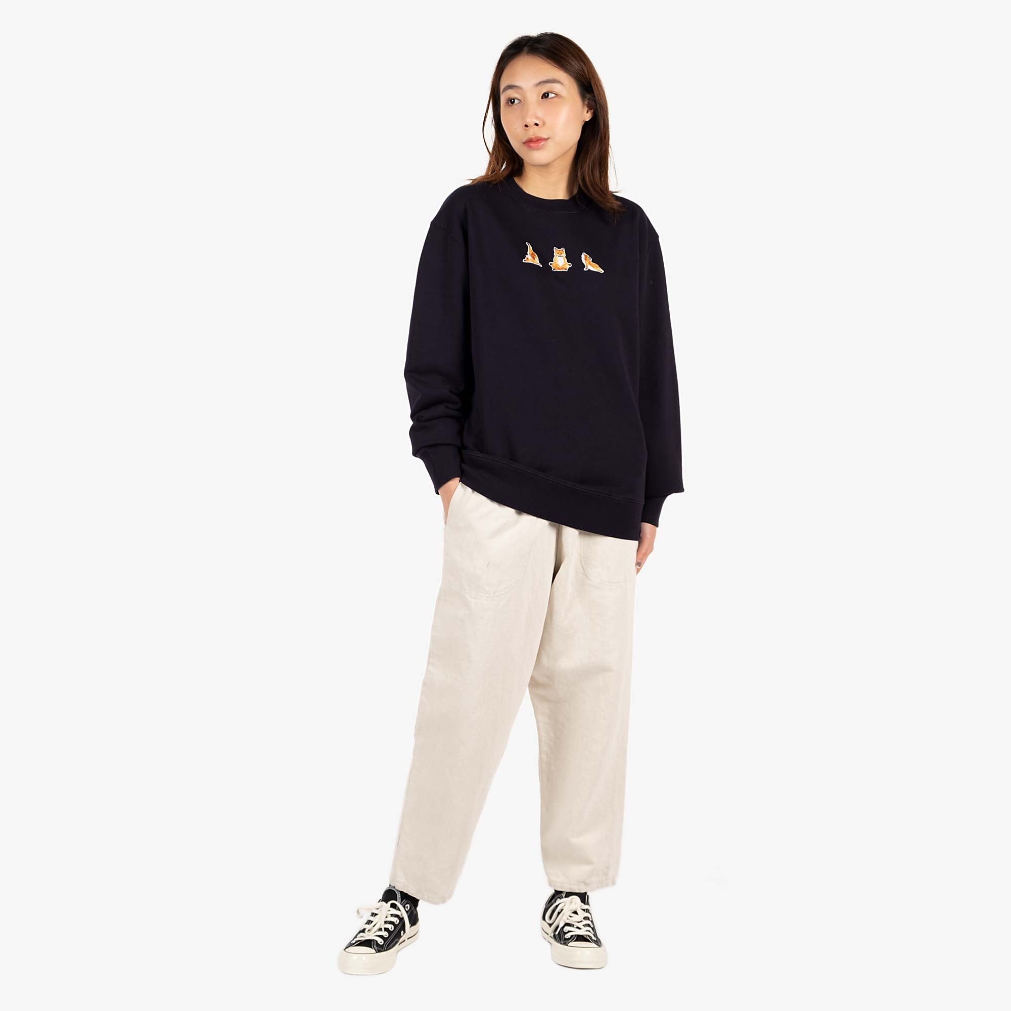 Maison Kitsune Womens Yoga Fox Patches Sweat - Navy 2