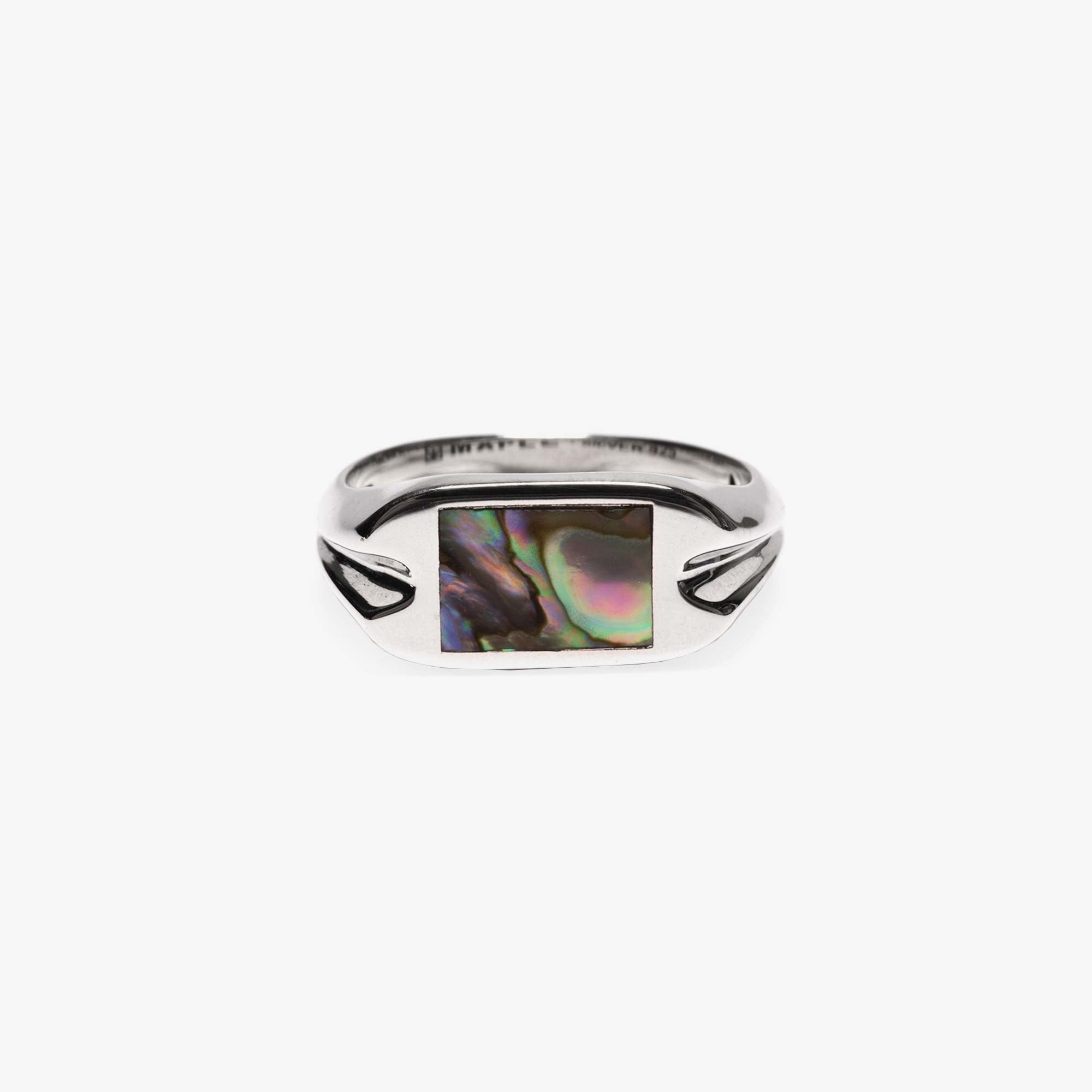 Maple Danny Signet Ring - Silver / Abalone Shell 1