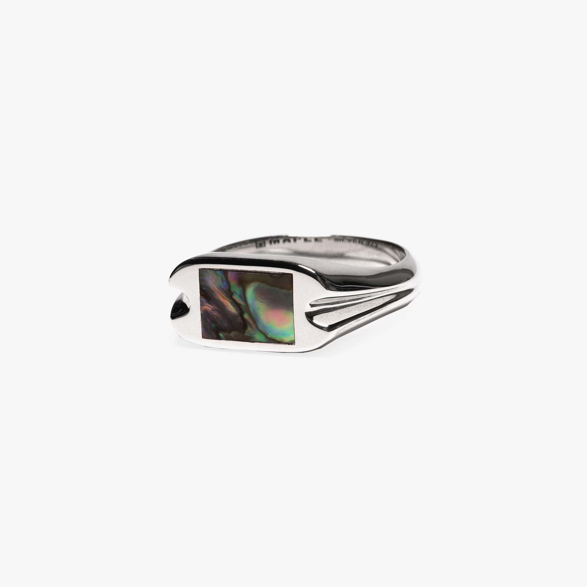 Maple Danny Signet Ring - Silver / Abalone Shell 2