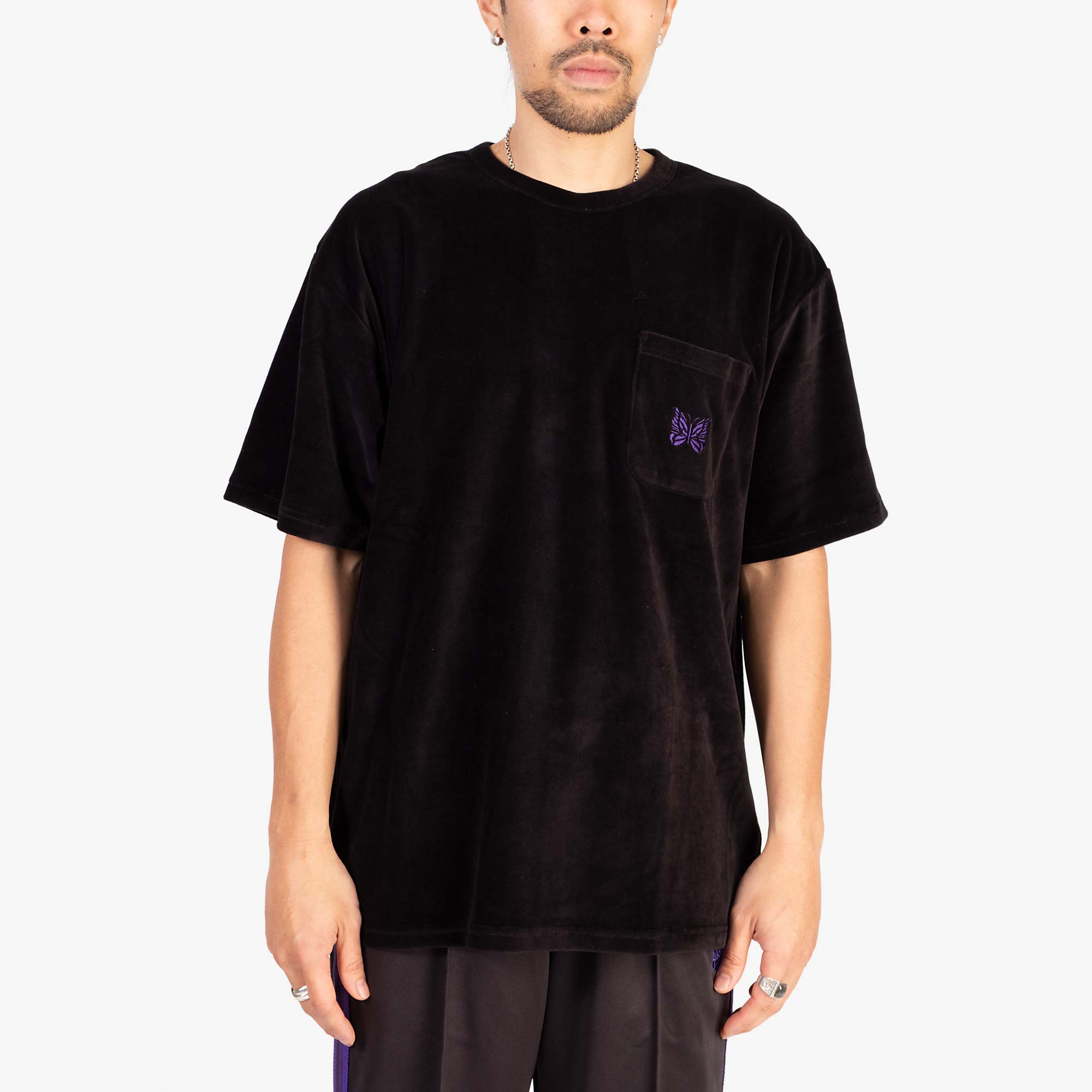 Needles Short Sleeve Pocket T-Shirt Velour - Black 5