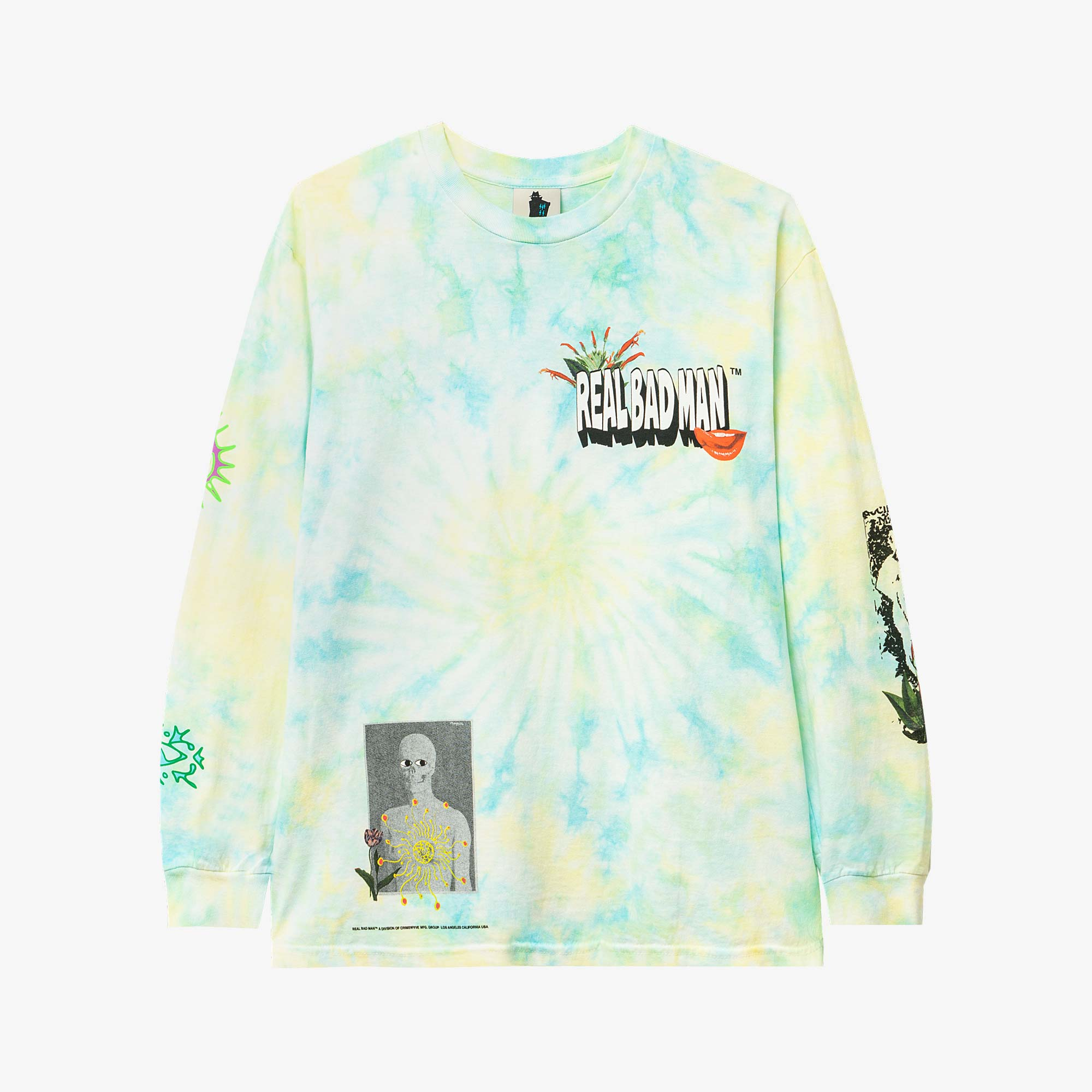 Real Bad Man From Outer Space LS Tee - Aqua / Yellow 1