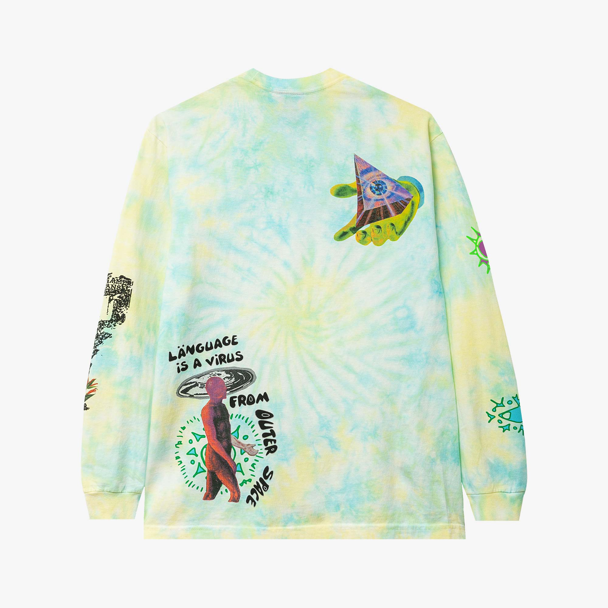 Real Bad Man From Outer Space LS Tee - Aqua / Yellow 3