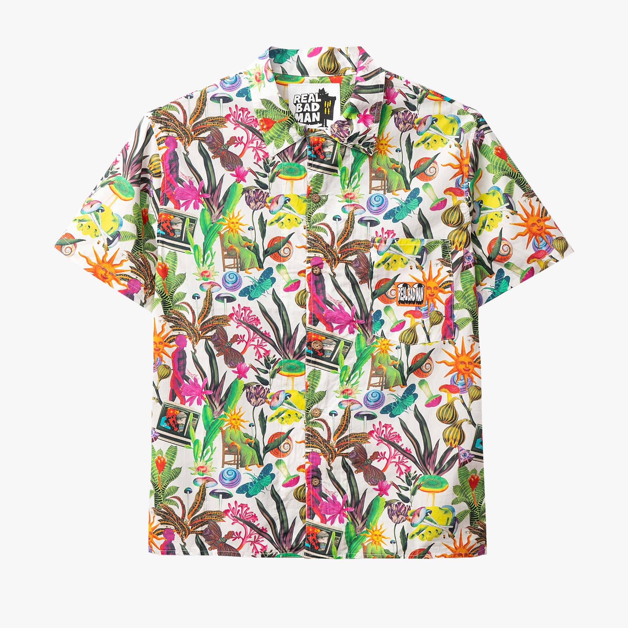 Real Bad Man Psychedelica Vacation Button Down - Black Multi Print 1