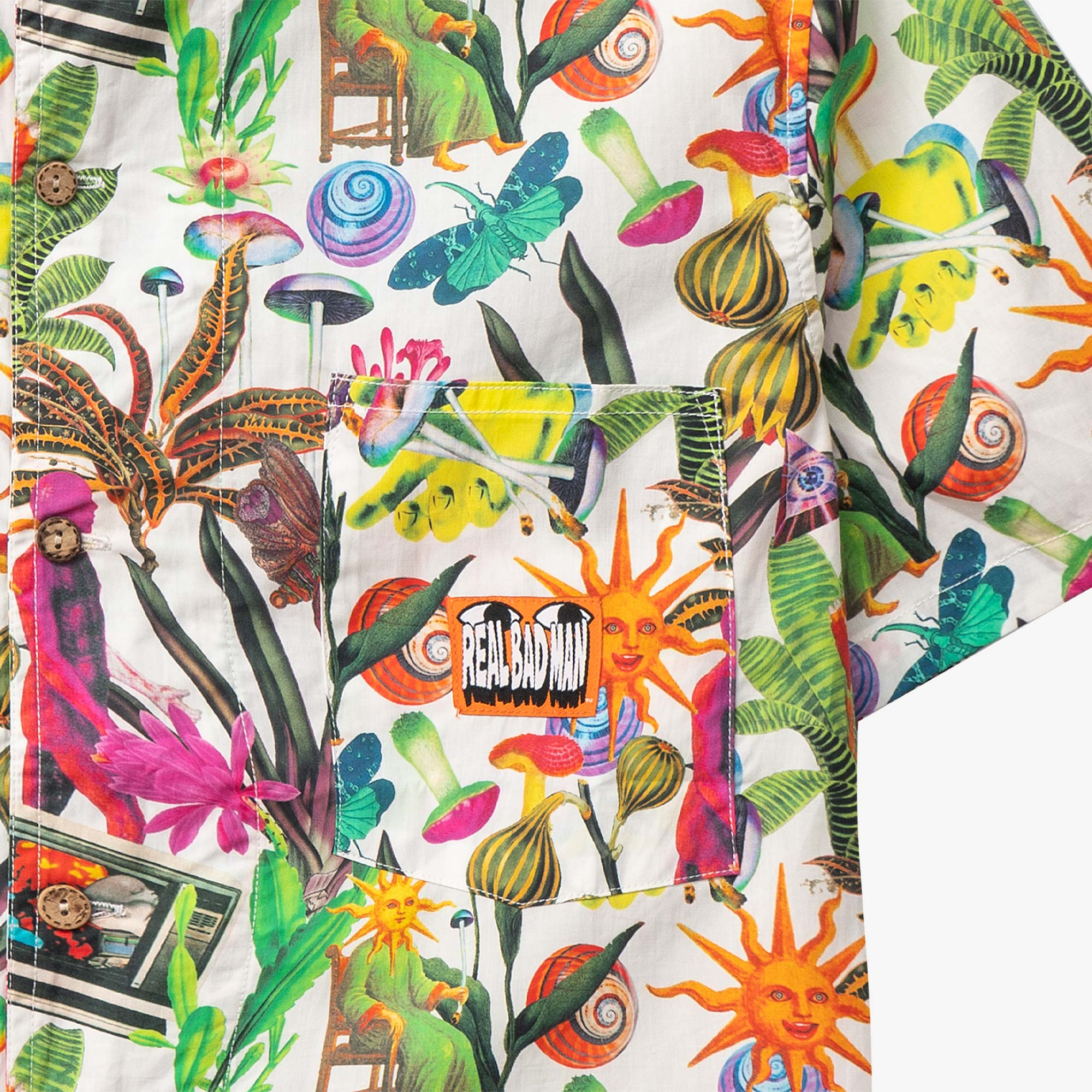 Real Bad Man Psychedelica Vacation Button Down - Black Multi Print 3